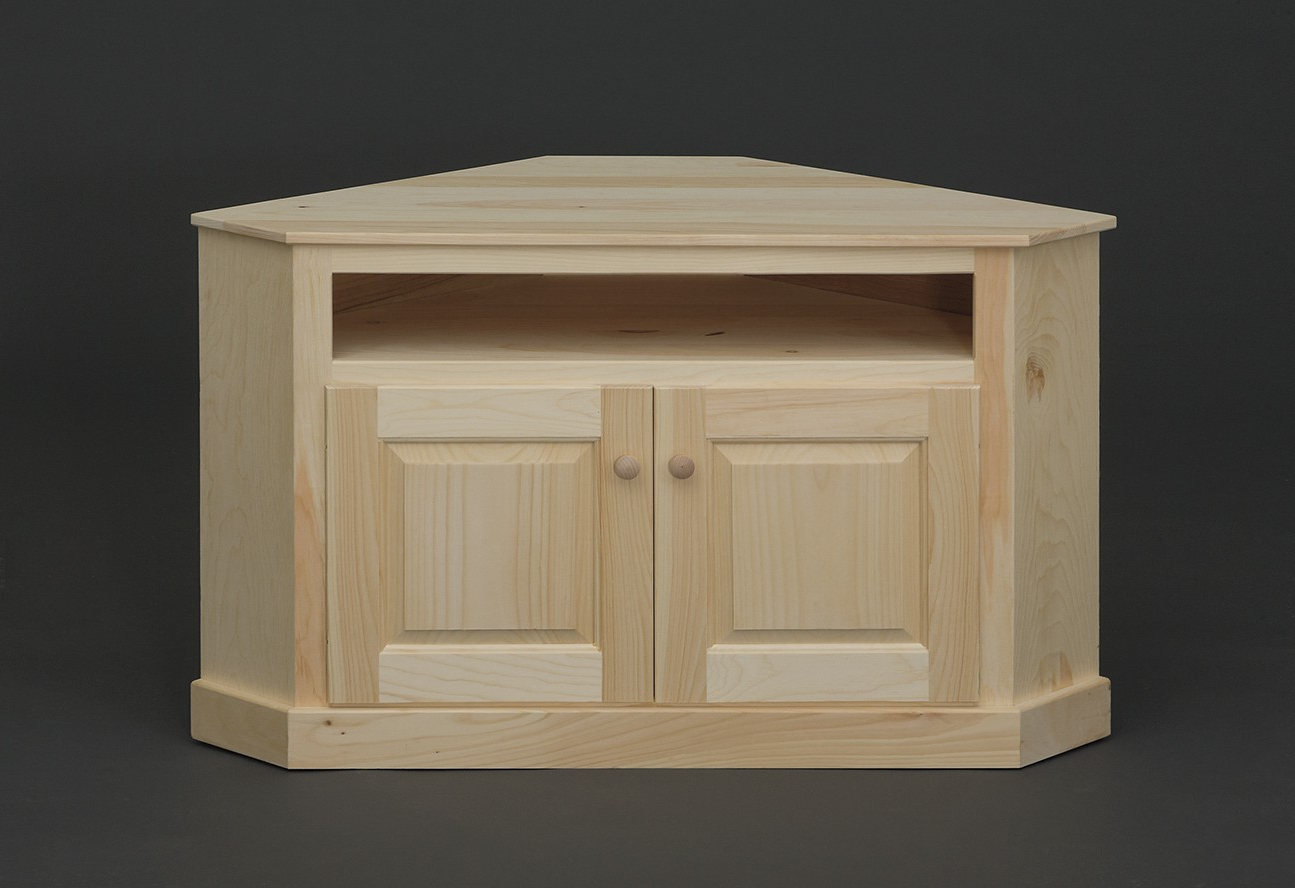 Pine Tv Cabinets For Preferred Unfinished Corner Tv Stands Wood – Corner Designs (Gallery 15 of 20)