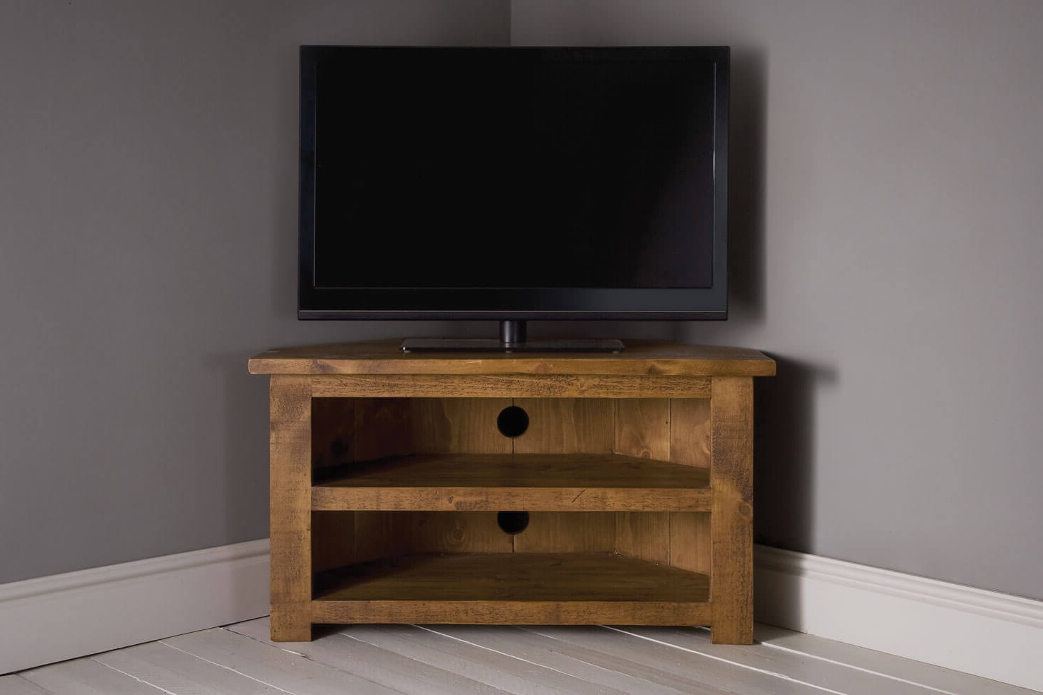 Plank Corner Tv Unit With Shelfindigo Furniture Throughout Newest Wooden Corner Tv Units (View 13 of 20)