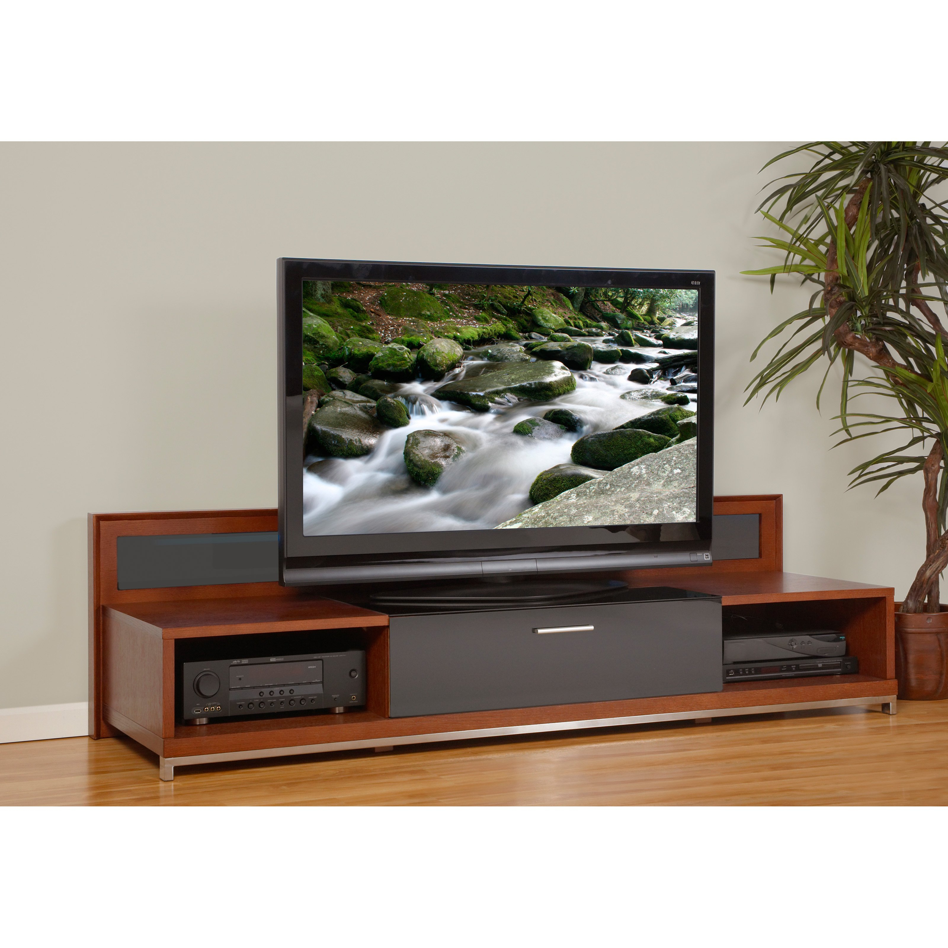 Plateau Valencia 79 Inch Tv Stand In Walnut – Walmart Intended For Preferred 80 Inch Tv Stands (View 16 of 20)