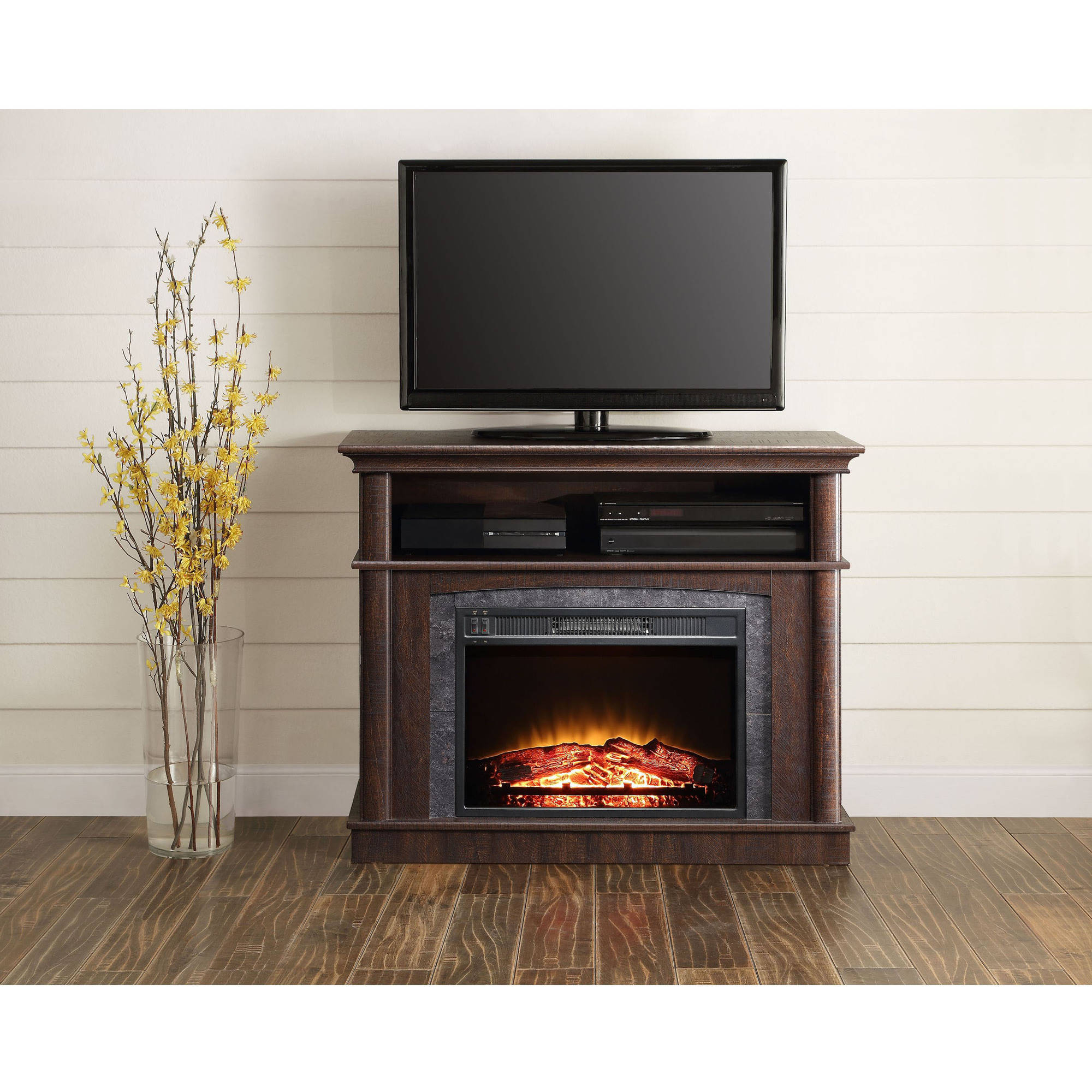 "Popular 50 Inch Fireplace Tv Stands Regarding Whalen Fireplace Media Console For Tvs Up To 50"", Rustic Brown (View 14 of 20)"