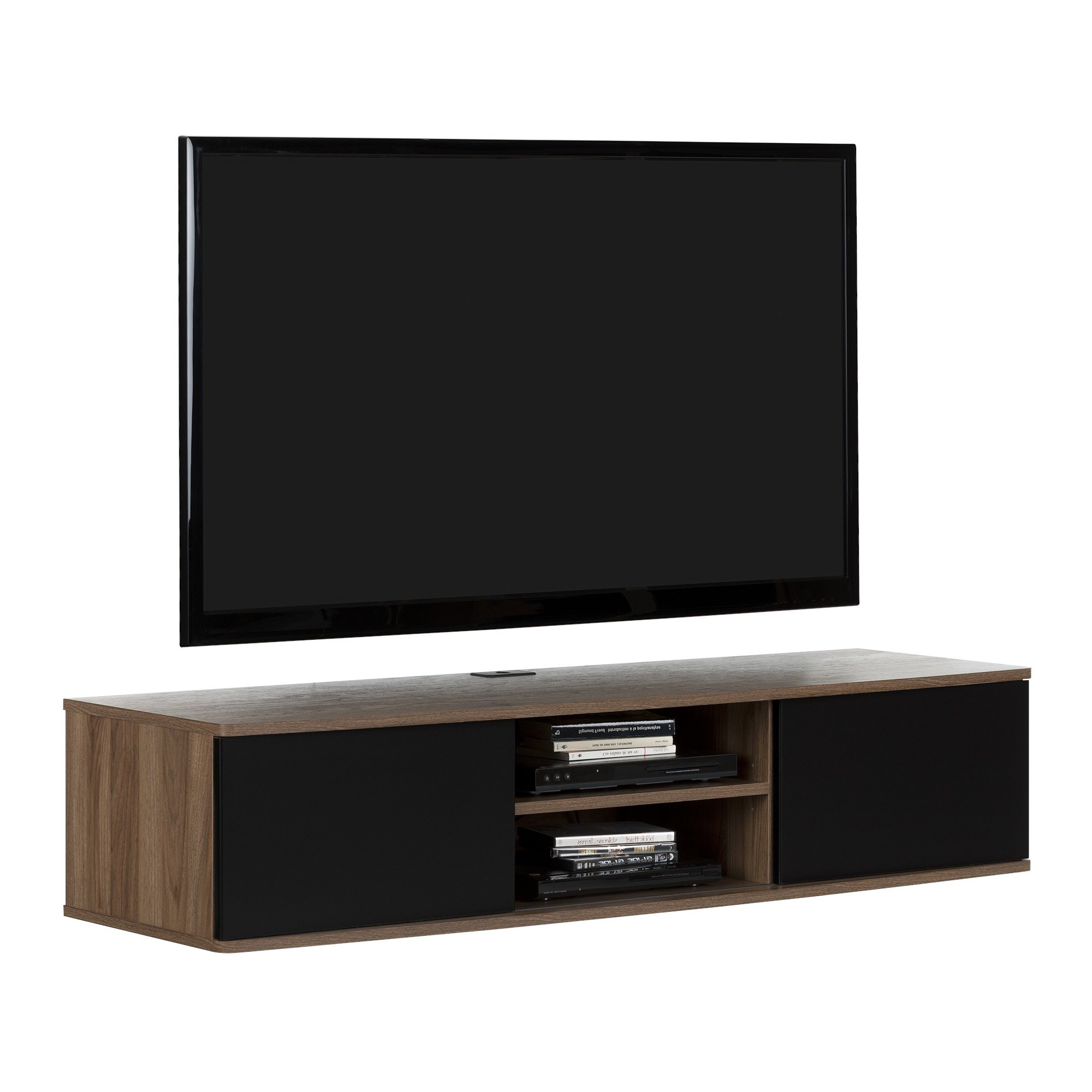 Popular Agora Wall Mounted Media Console Tv Stand For Tvs Up To 58 In Casey Umber 54 Inch Tv Stands (View 15 of 20)