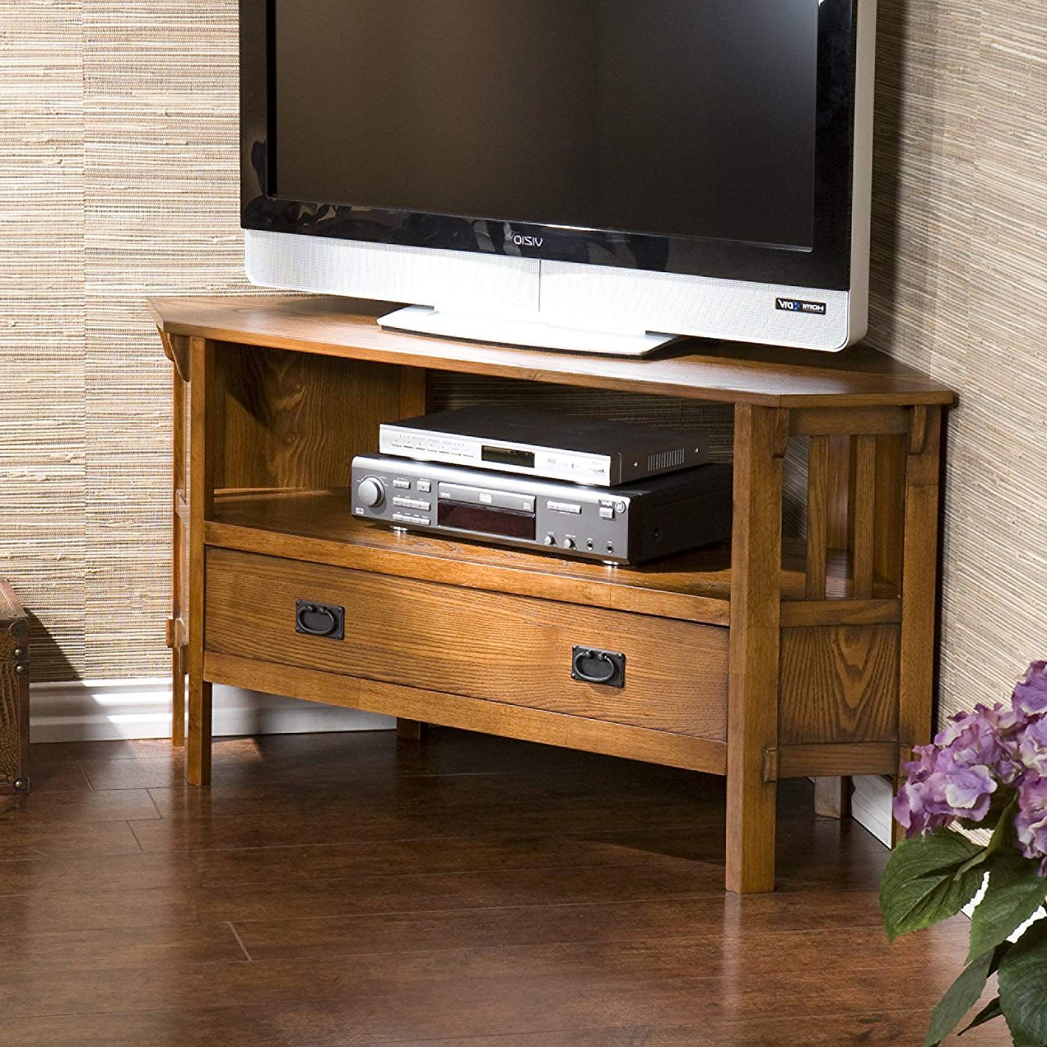 Popular Amazon: Carson Oak Corner Media Stand: Kitchen & Dining Intended For Abbot 60 Inch Tv Stands (View 16 of 20)