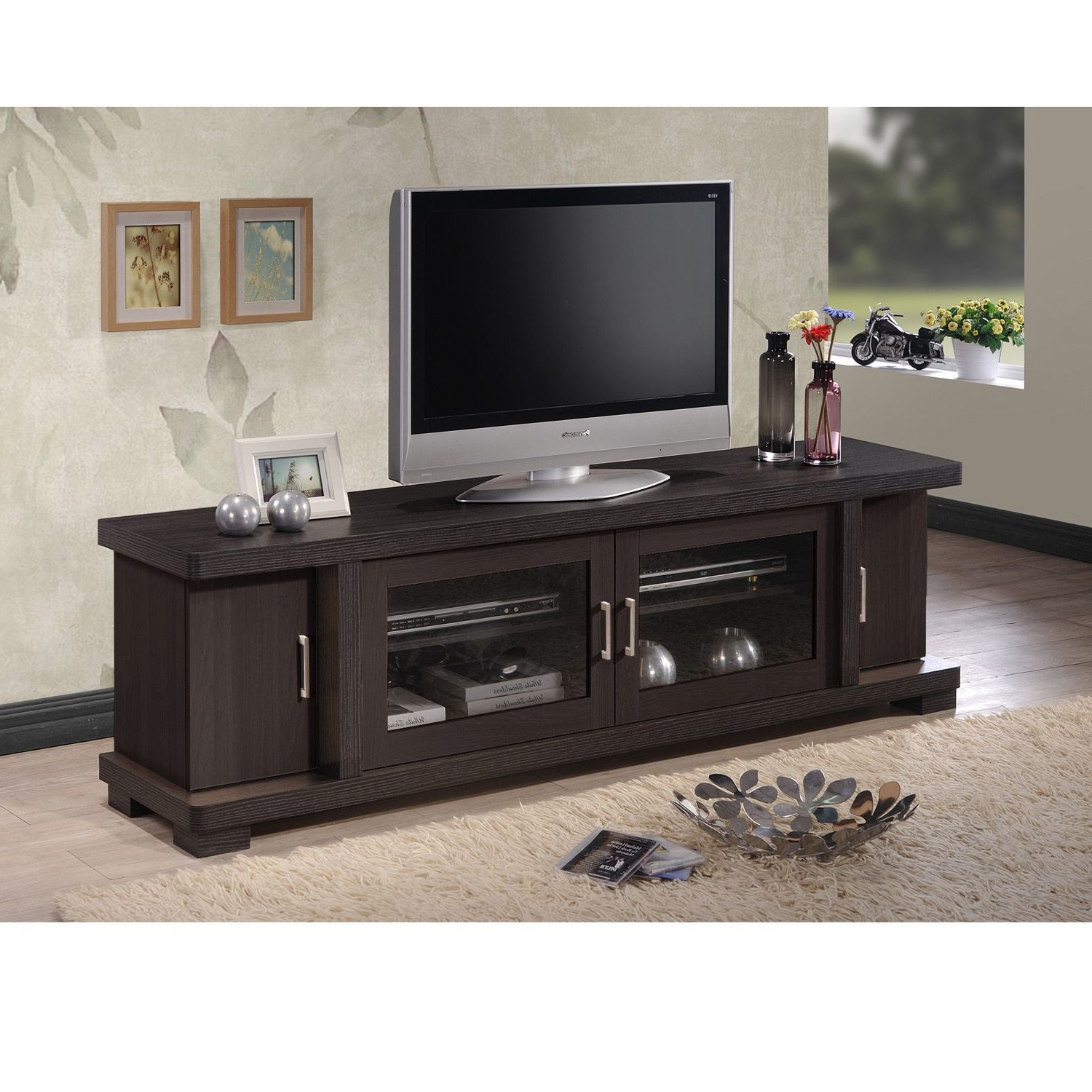 Popular Baxton Studio Vega Contemporary 70 Inch Dark Brown Wood Tv Cabinet With Regard To Tv Cabinets With Glass Doors (View 6 of 20)