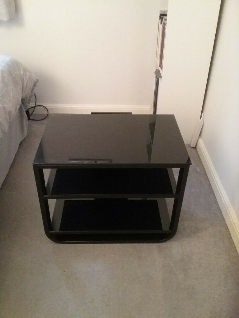 Popular Black Shiny Tv Stand With 2 Shelves Suitable For Smaller Tv (View 17 of 20)