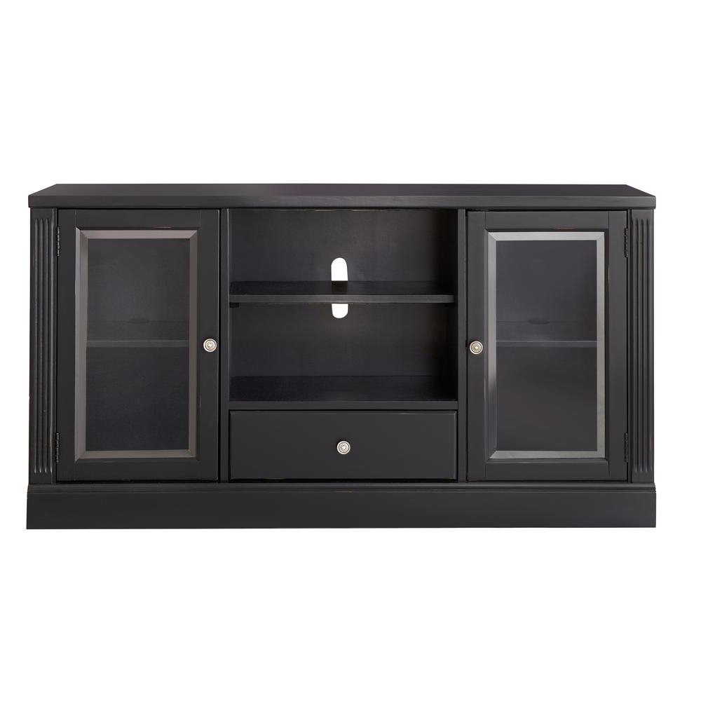Popular Black Tv Stand With Glass Doors Intended For Edinburgh Black Glass Door Modular Tv Stand 6293 892 – The Home Depot (Gallery 11 of 20)