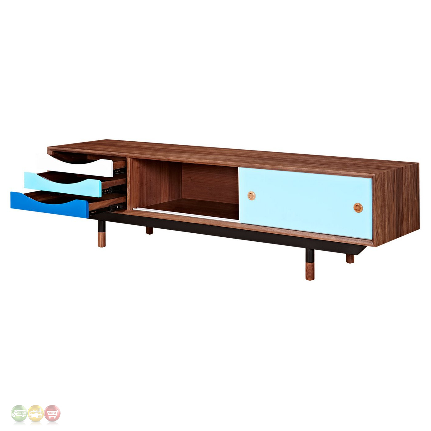 Popular Blue Tv Stands In Soren Walnut Wood Tv Stand With Storage In Blue White Finish (View 15 of 20)