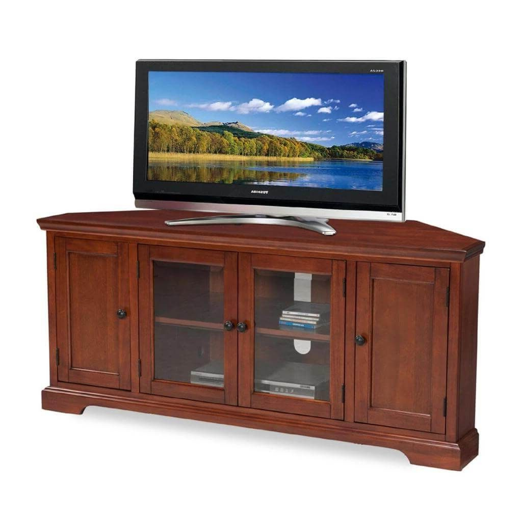 Popular Cherry Wood Tv Cabinets Pertaining To Furniture: Classic Hal Hexagonal Solid Wood Corner Tv Stand (View 15 of 20)