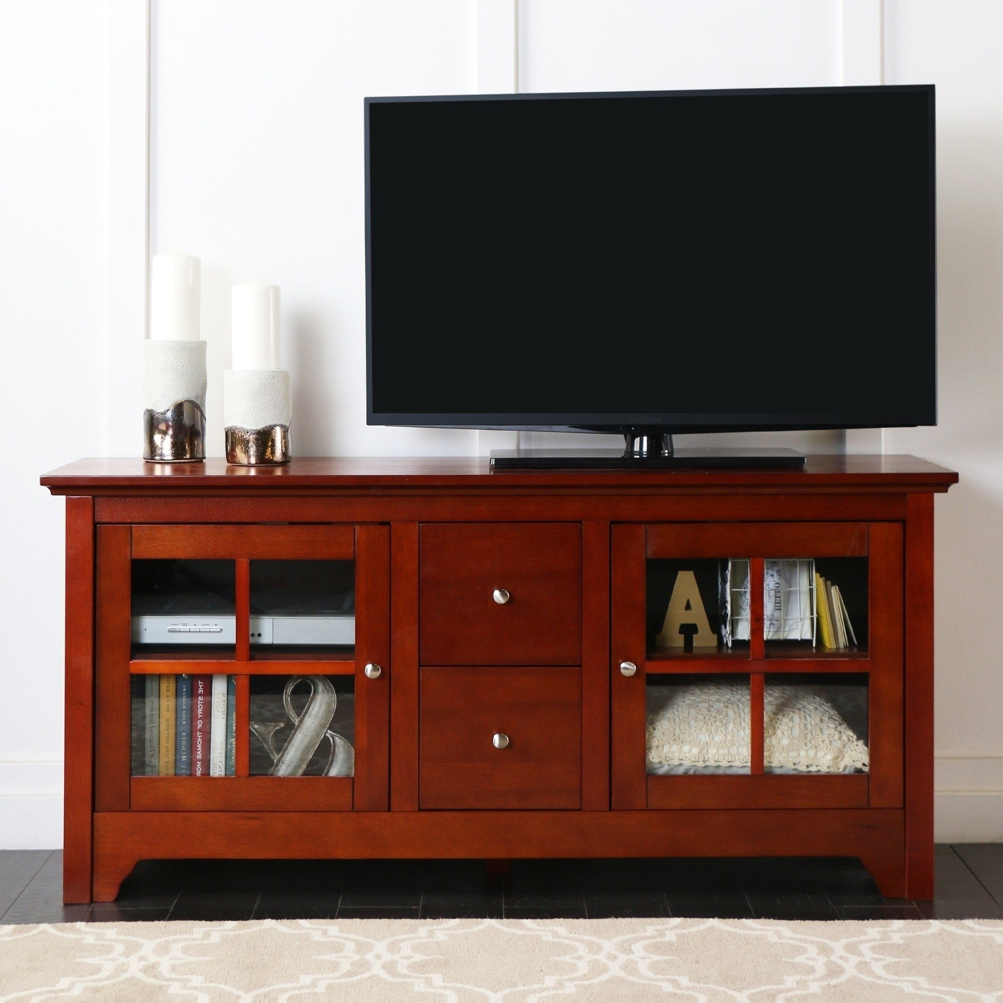 "Popular Cherry Wood Tv Stands Within Shop 53"" Tv Stand Console With Drawers – 53 X 16 X 25h – On Sale (View 9 of 20)"