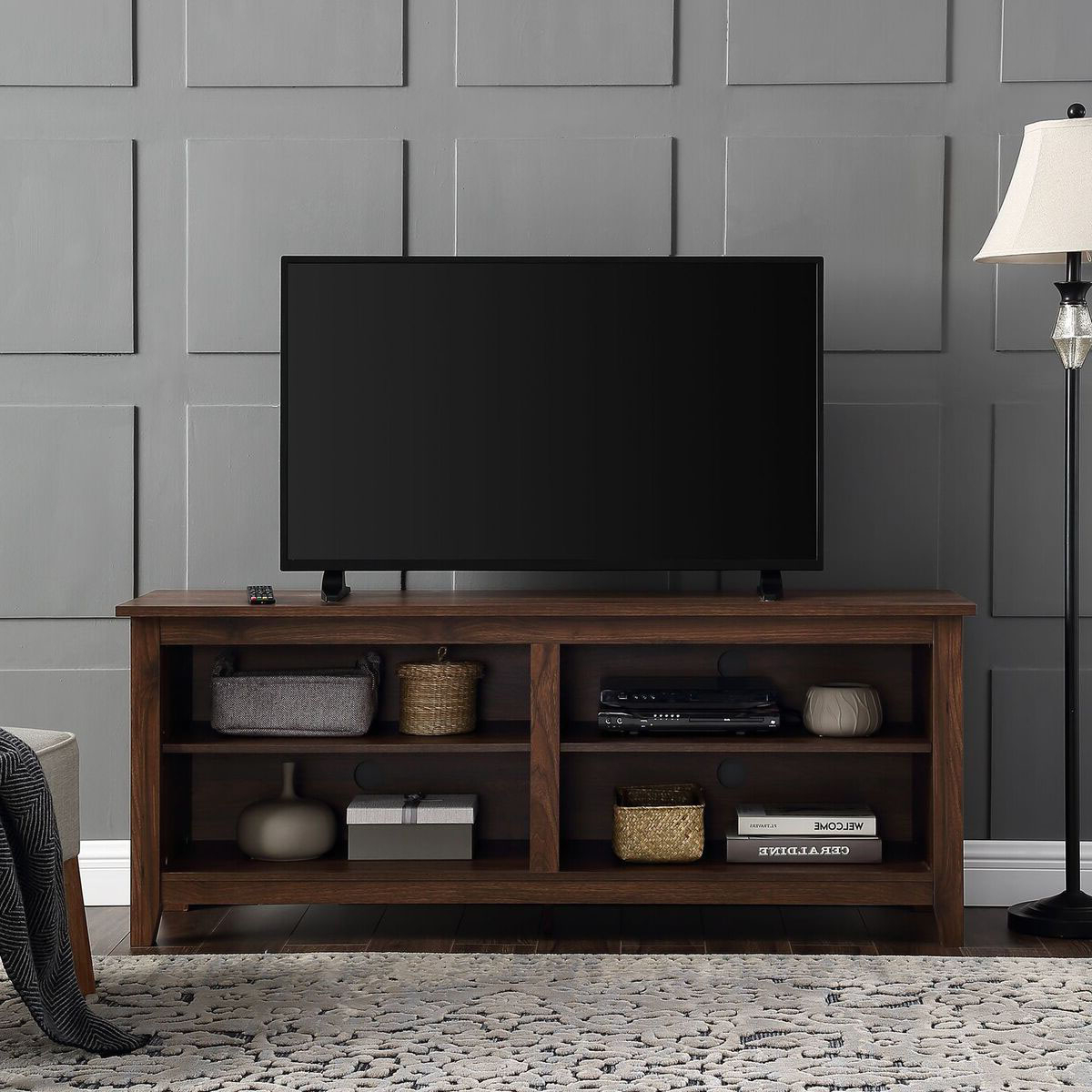"Popular Clickhere2Shop: We Furniture 58"" Wood Tv Media Stand Storage Console Inside Dark Walnut Tv Stands (View 16 of 20)"
