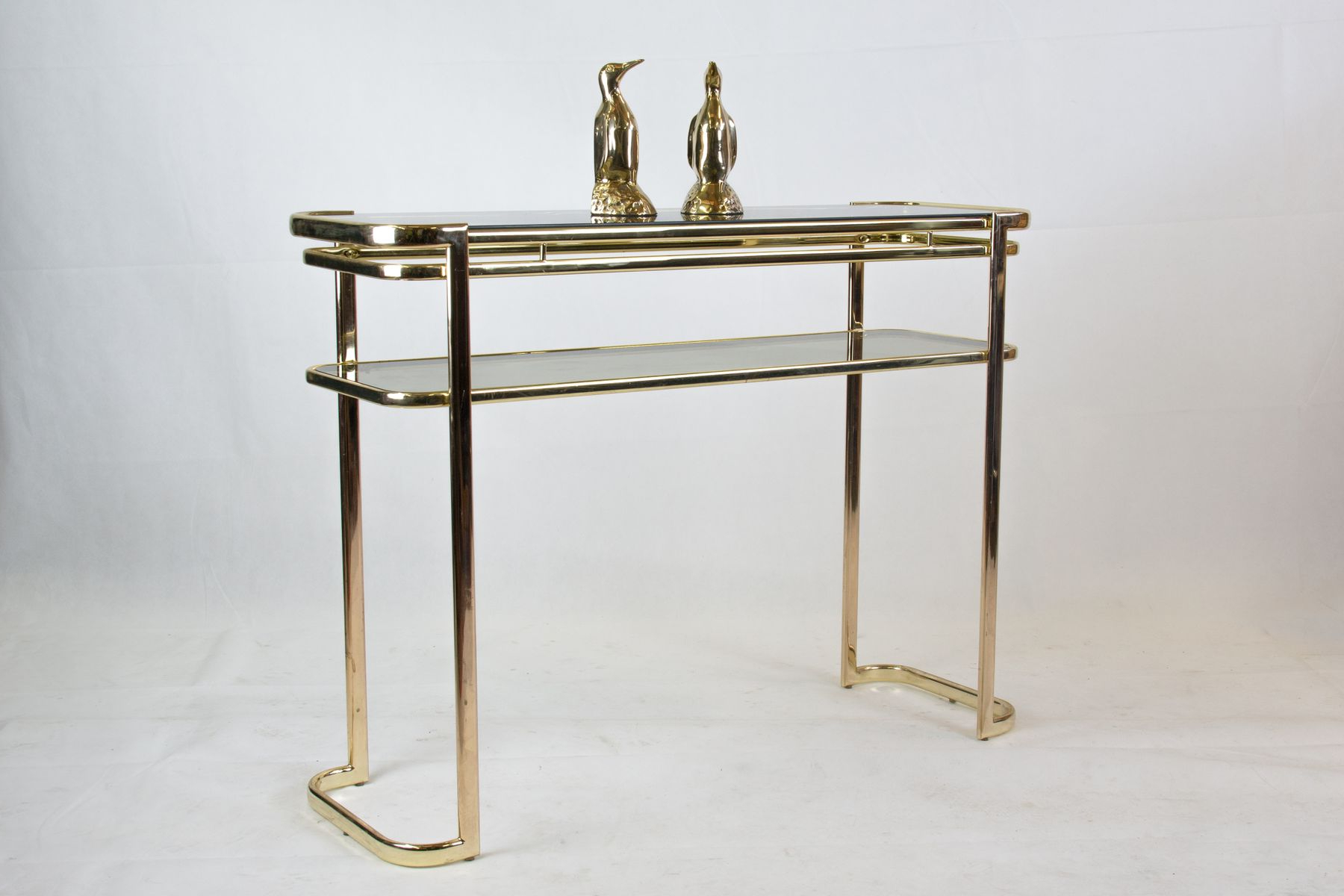 Popular Console Table With Brass Frame & Glass Topmilo Baughman For Inside Era Glass Console Tables (View 13 of 20)
