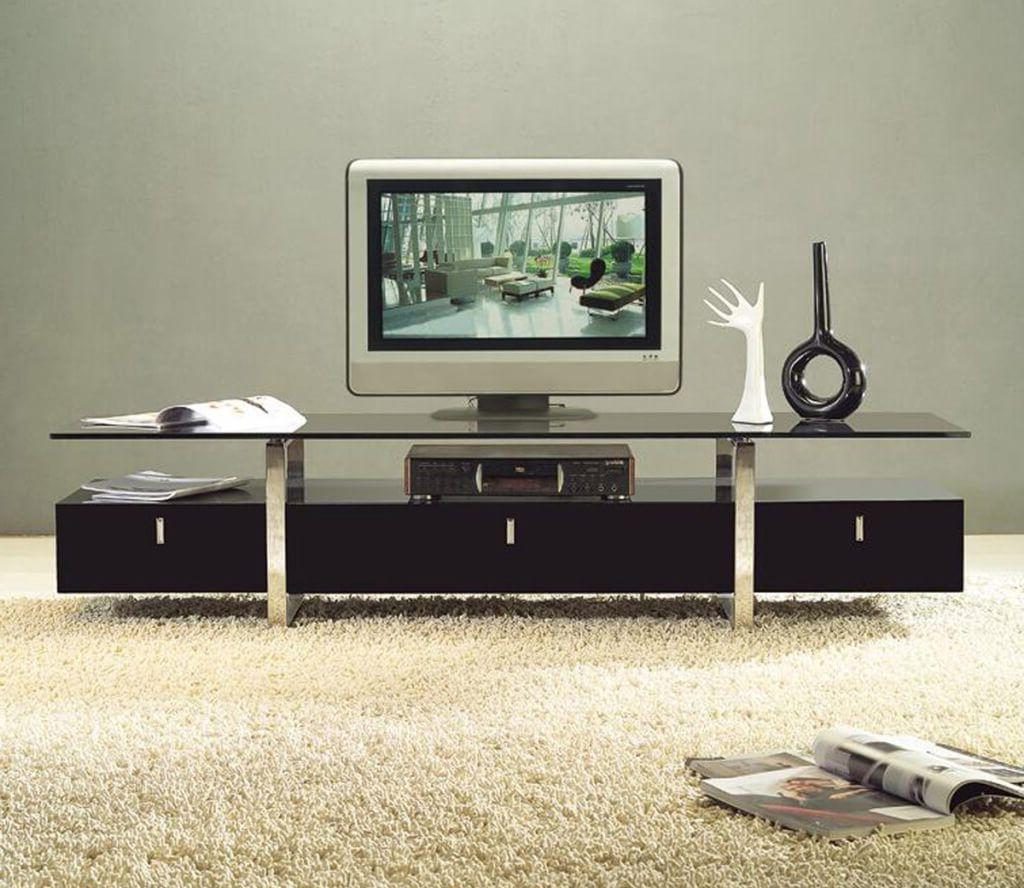Popular Contemporary Tv Stands For Flat Screens Intended For Furniture: Remarkable Contemporary Style Wooden Tv Stand Featuring (Gallery 8 of 20)