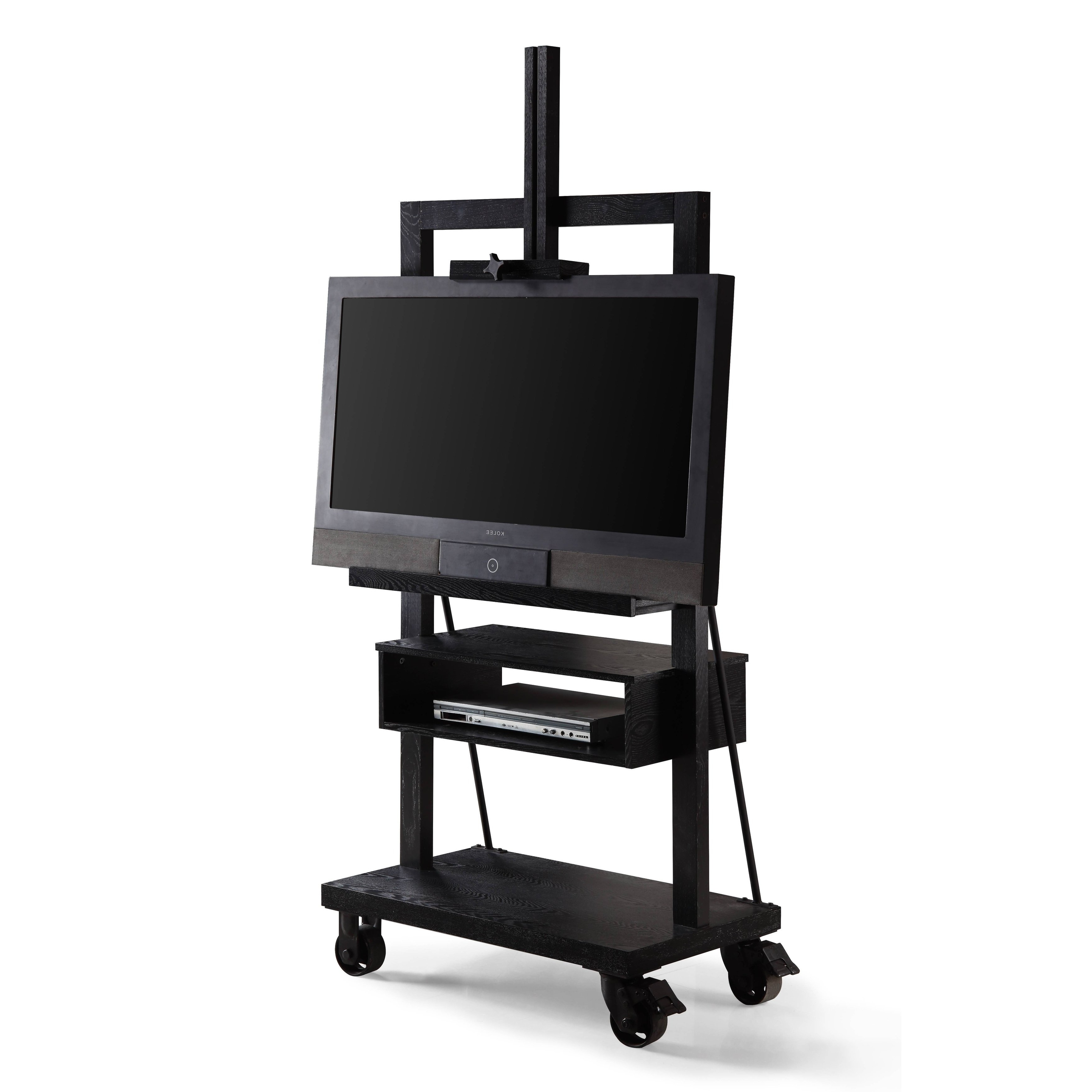 Popular Easel Tv Stands For Flat Screens Regarding Shop Haven Home Cullen Black 3 Tier Tv Stand For Flat Tv Panel (Gallery 6 of 20)