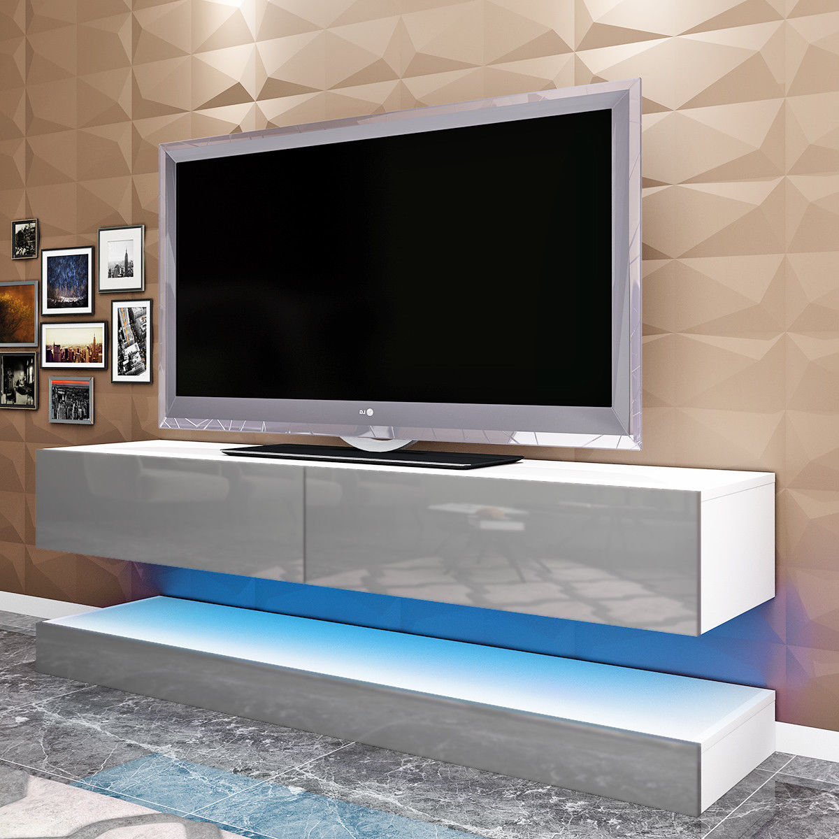 Popular Floating Tv Cabinets For Tv Armoire High Gloss White Stand Lacquer Media Console Modern (View 9 of 20)