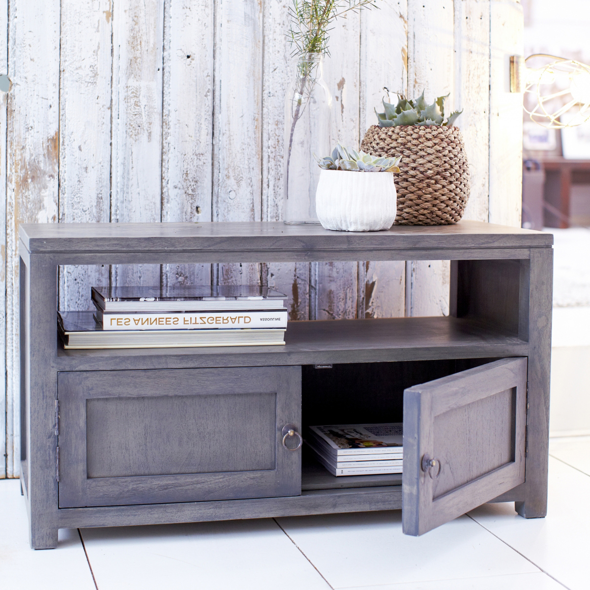 Popular Grey Wood Tv Stands Intended For Tikamoon Solid Painted Grey Small Wood Mindi Tv Stand Tv (View 6 of 20)