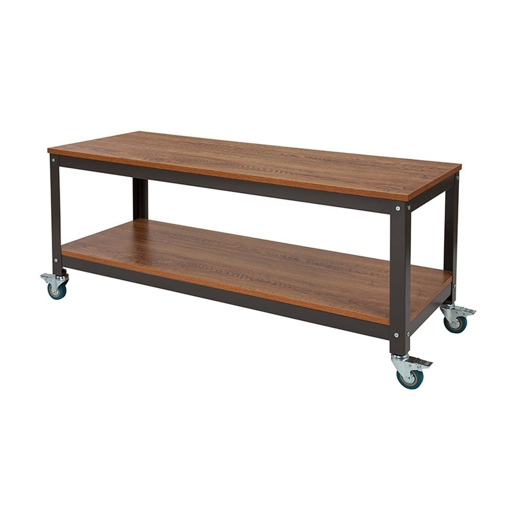 Popular Industrial Style Tv Stands Intended For Shop Offex Industrial Style Tv Stand In Brown Oak Wood Grain Finish (View 20 of 20)