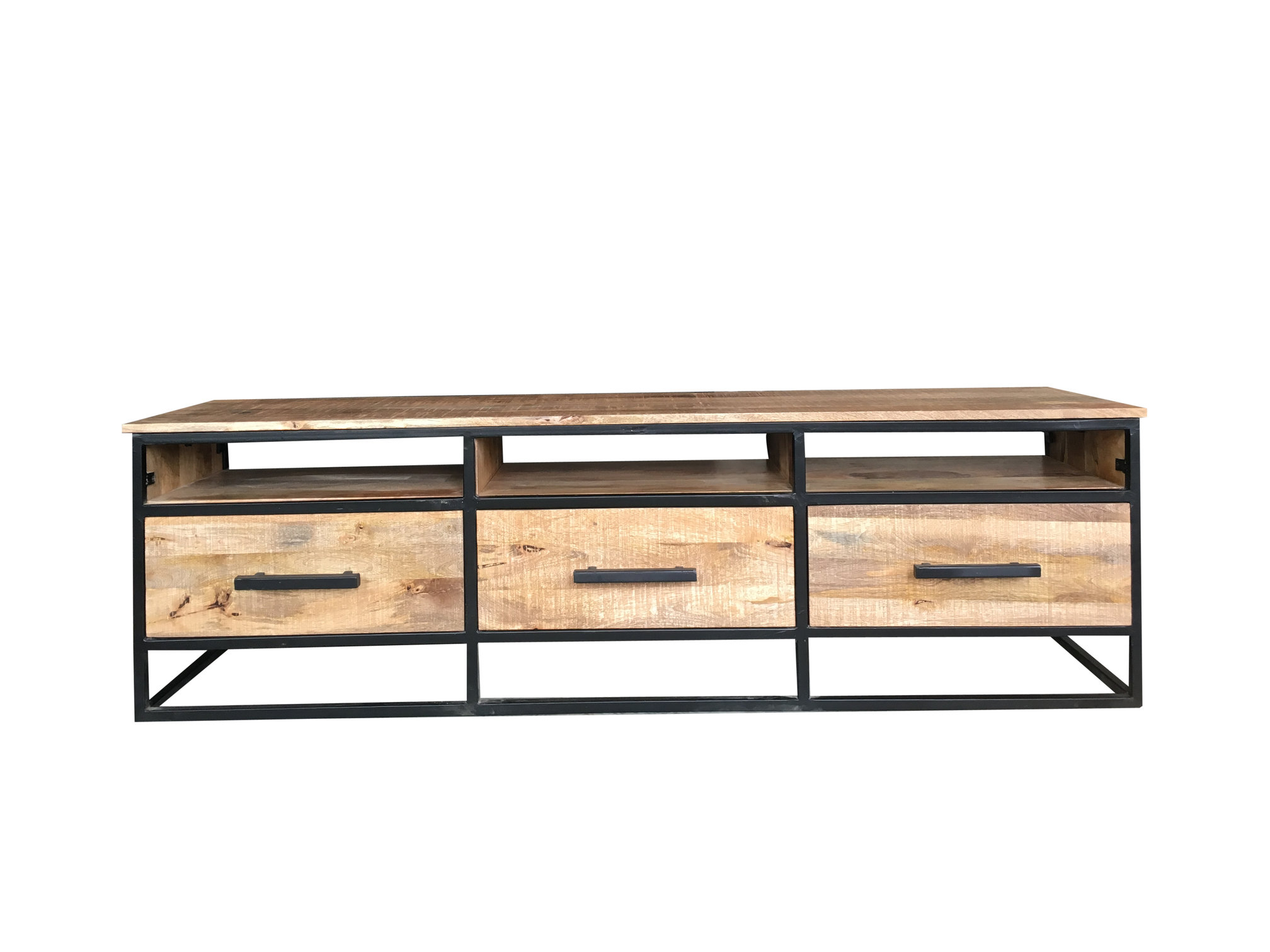 Popular Industrial Style Tv Stands Within Industrial Style 170 Cm Light Mango Wood 3 Drawer Tv Stand Media (View 14 of 20)
