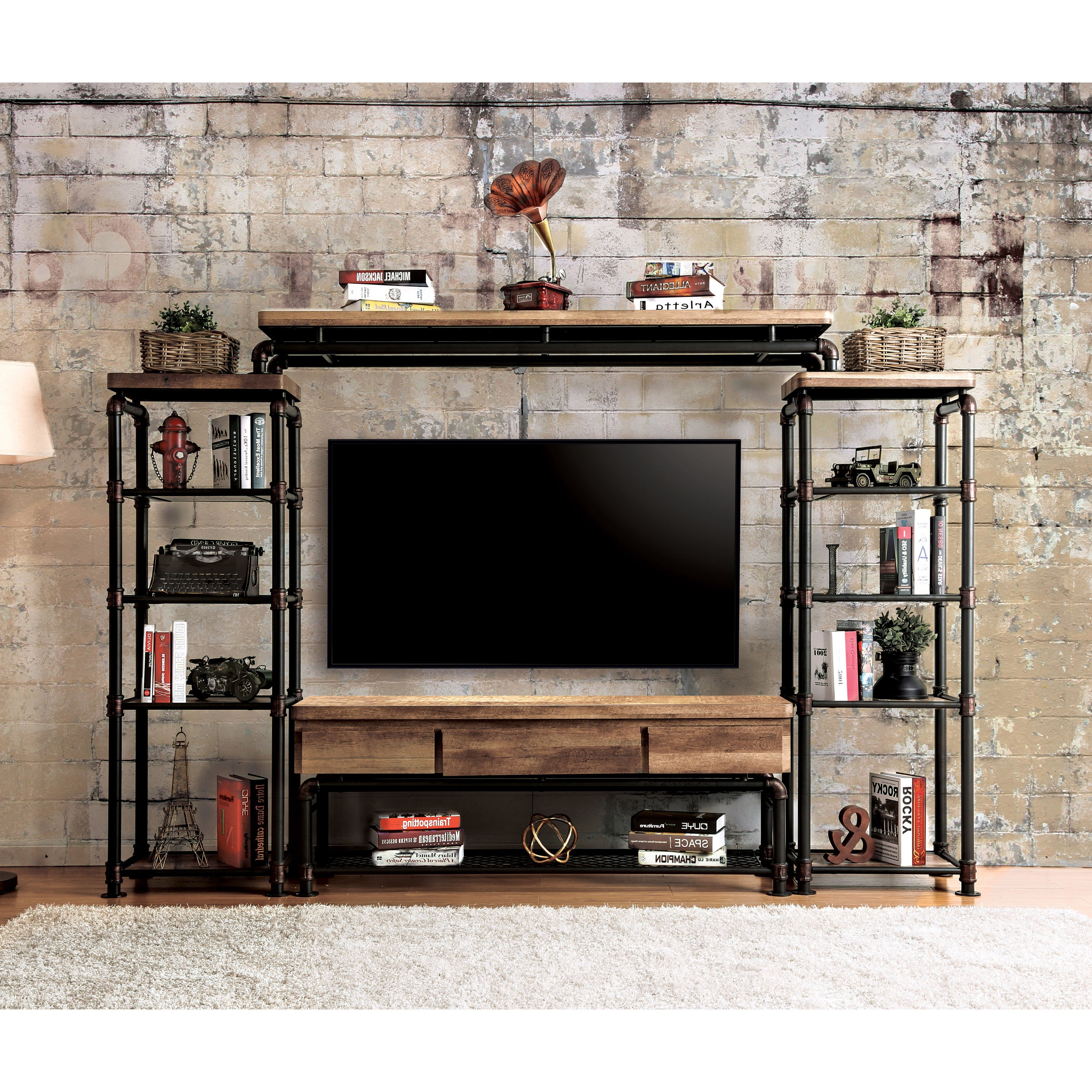 Popular Industrial Tv Cabinets Within Shop Herman Industrial Black 4 Piece Entertainment Centerfoa (View 16 of 20)