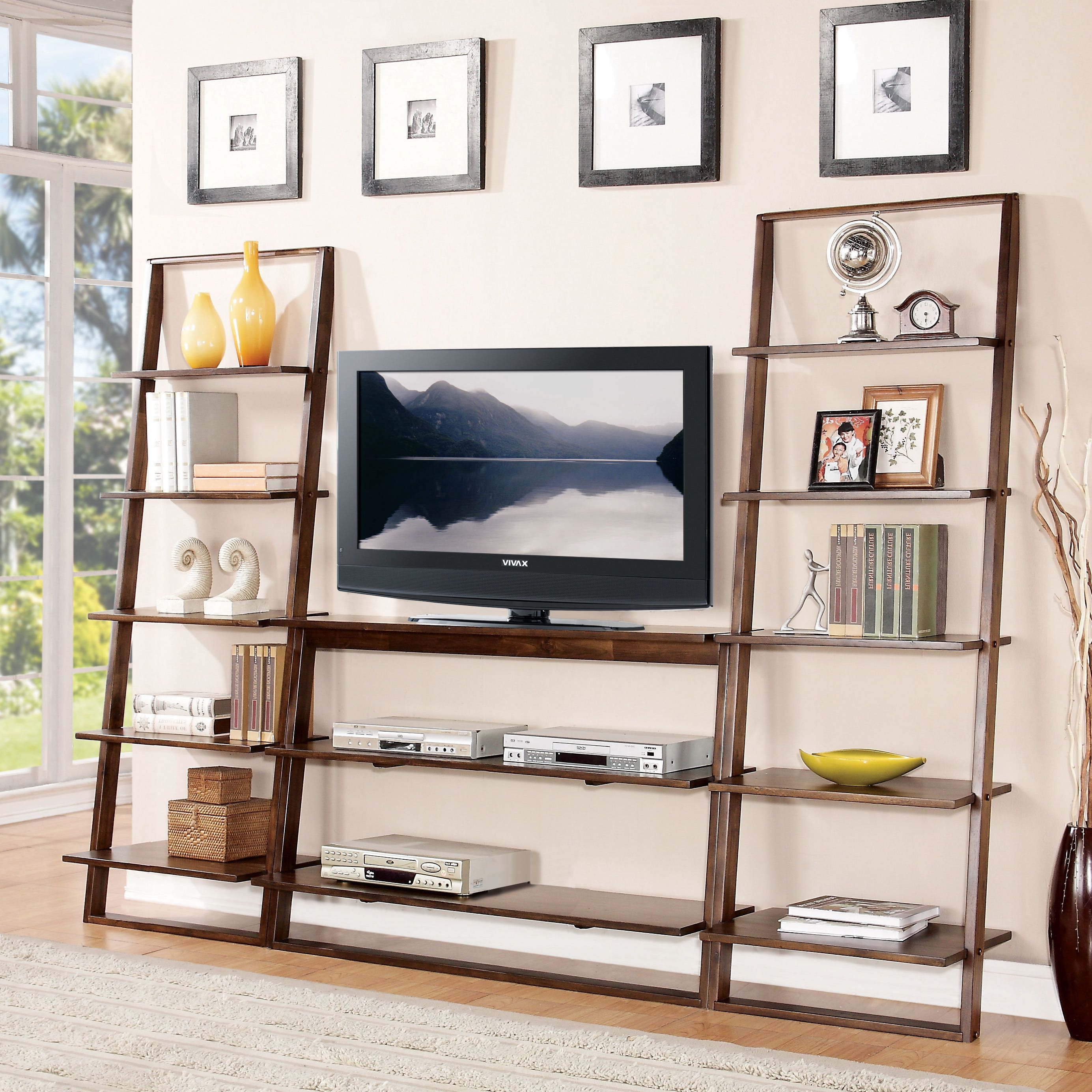 Popular Inspiring Space Saving Ideas Using Leaning Bookcase: Amazing Leaning Pertaining To Tv Stands And Bookshelf (Gallery 11 of 20)