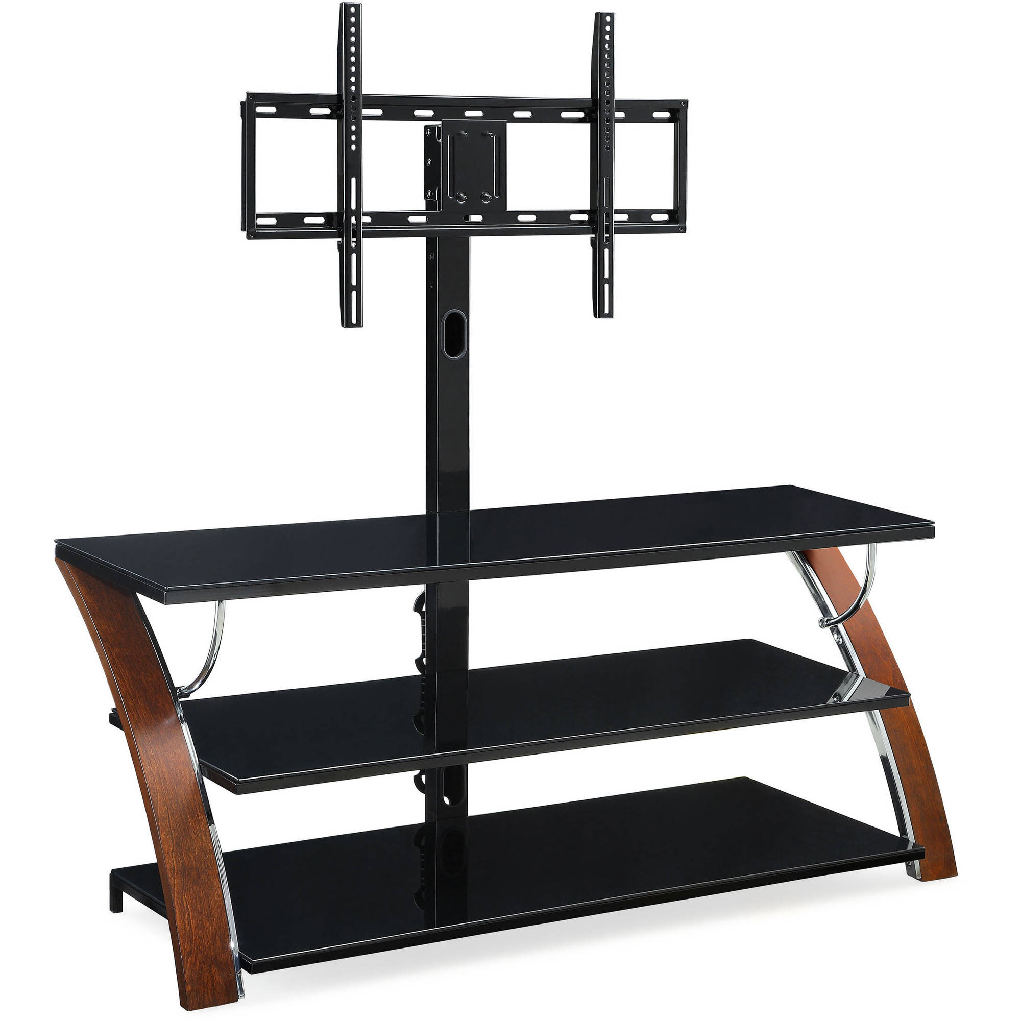 Popular Jaxon 71 Inch Tv Stands Inside Whalen Payton Brown Cherry 3 In 1 Flat Panel Tv Stand For Tvs Up To (Gallery 13 of 20)