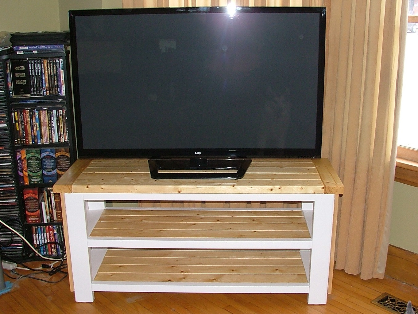 Popular Large White Tv Stands Regarding Surprising White Living Stands Floating Gloss Screens Open Room (Gallery 20 of 20)