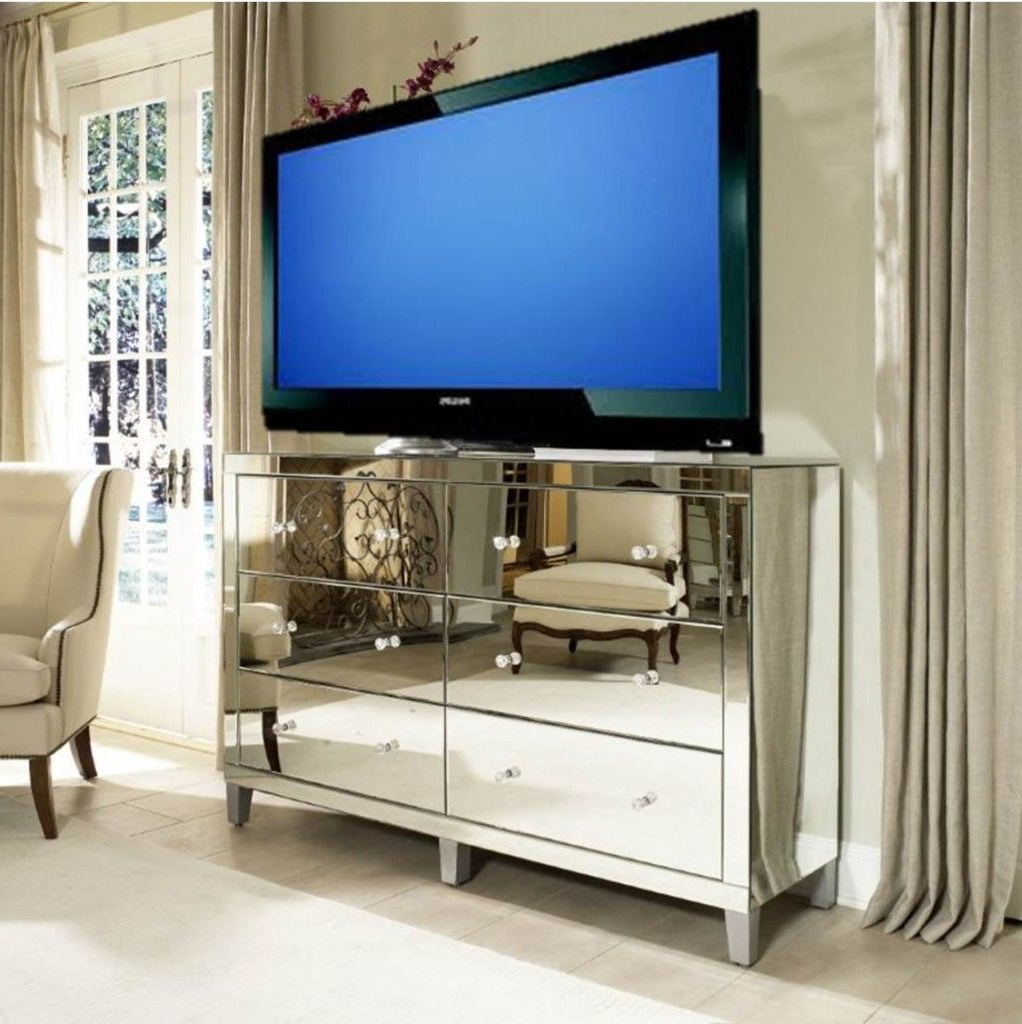 Popular Manhattan Glamour Style: Using A Mirrored Dresser As A Media Cabinet Within Mirrored Tv Cabinets Furniture (View 13 of 20)