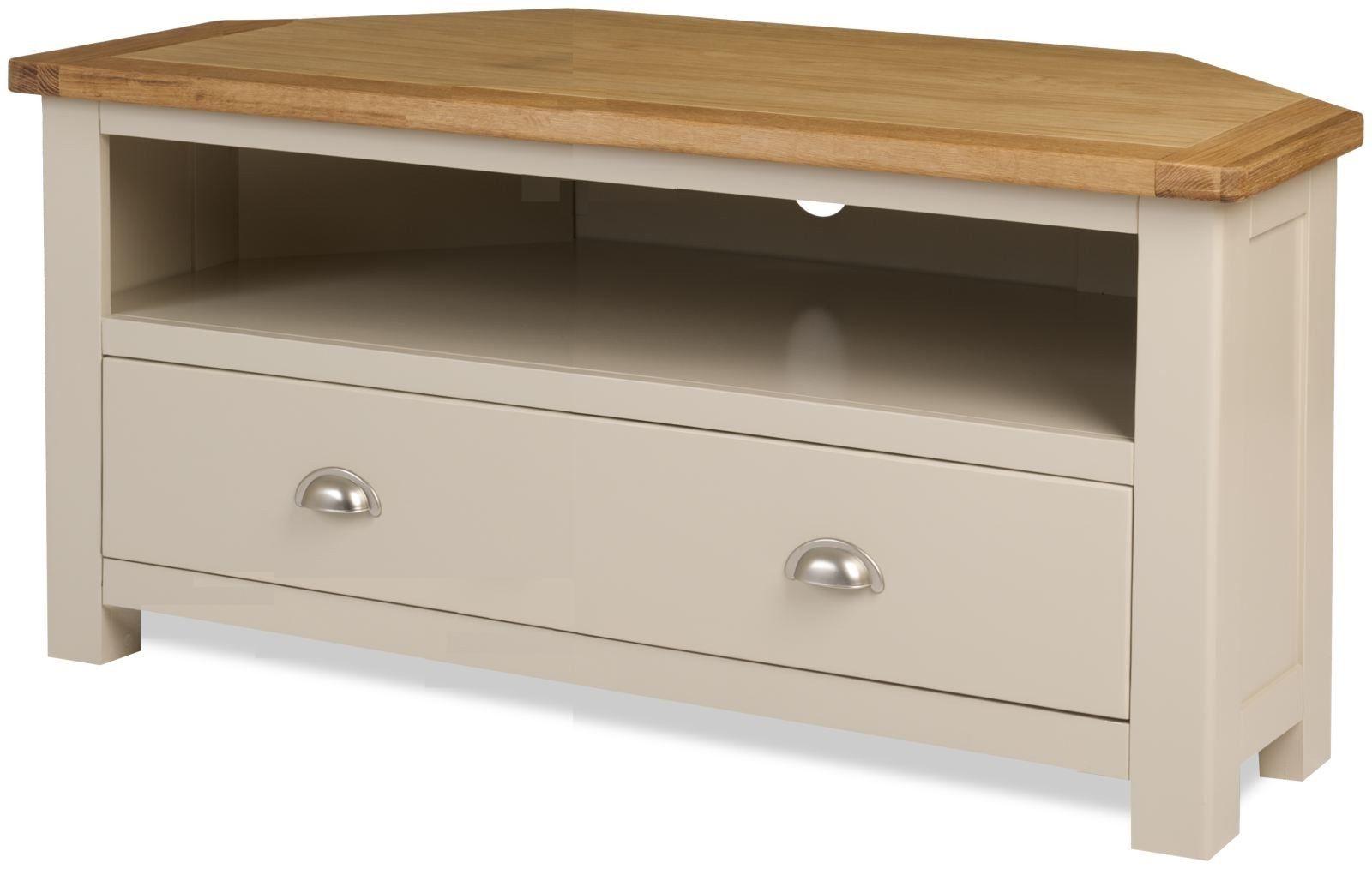 Popular Melton Stone Colour Painted Oak Corner Widescreen Lcd Plasma Tv For Oak Widescreen Tv Units (View 20 of 20)
