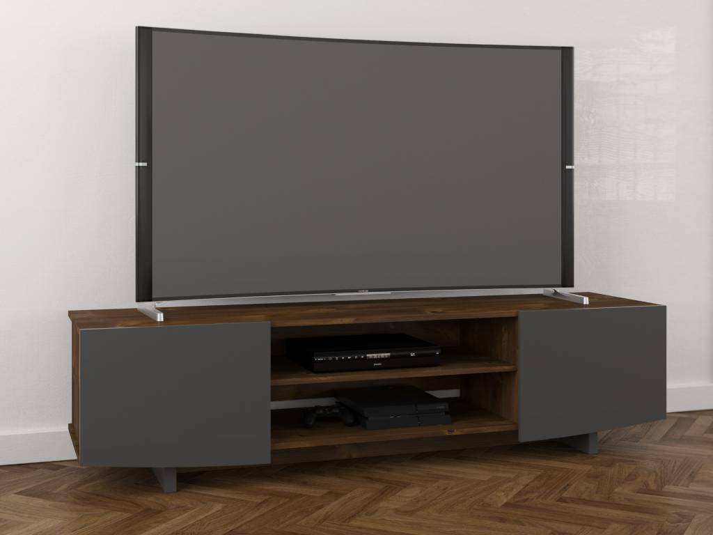 Popular Nexera Tv Stands In Helix Tv Stand, 72 Inch, Truffle And Charcoal Grey – M2Go (View 17 of 20)