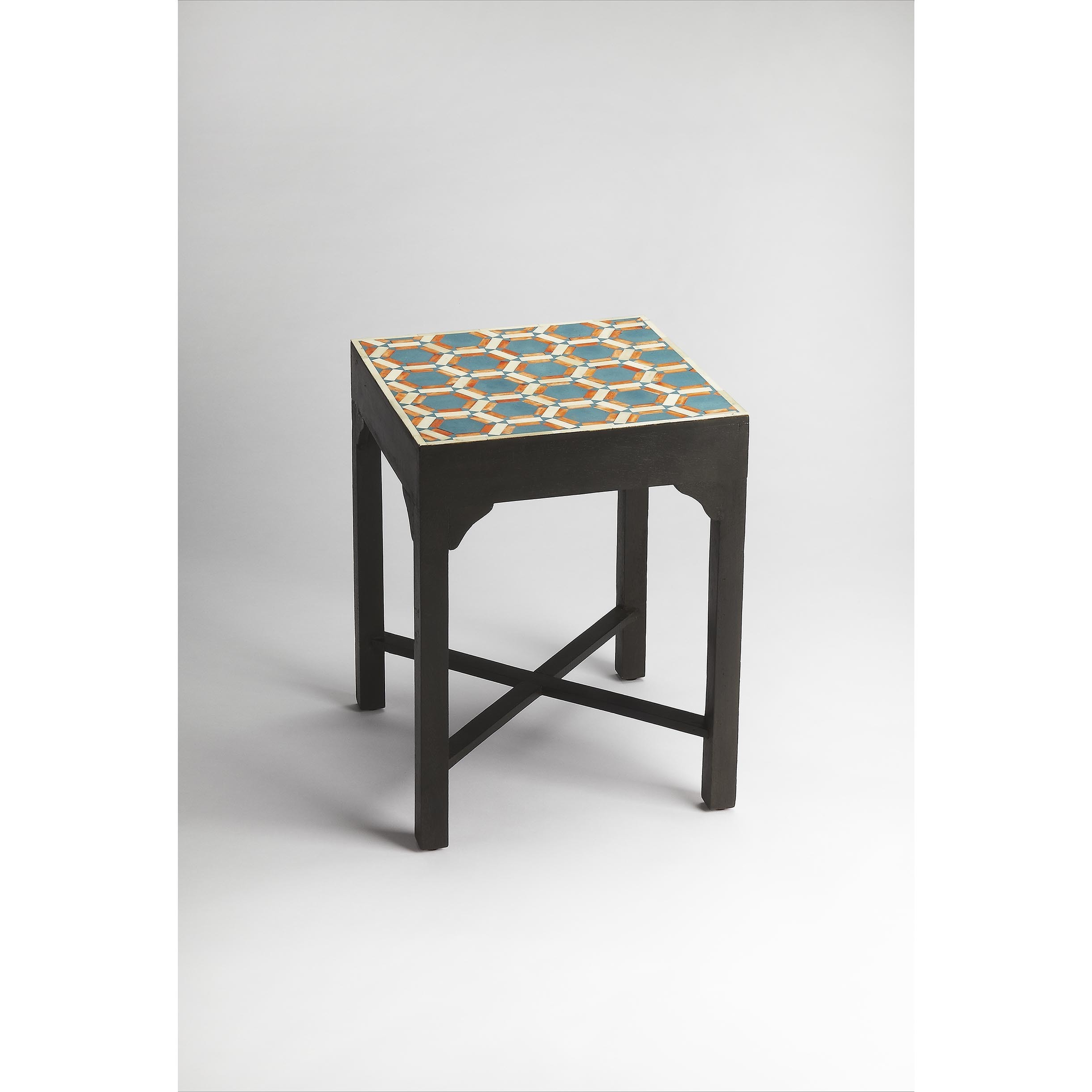 Popular Orange Inlay Console Tables Within Shop Handmade Butler Bishop Teal And Orange Bone Inlay Bunching (View 17 of 20)