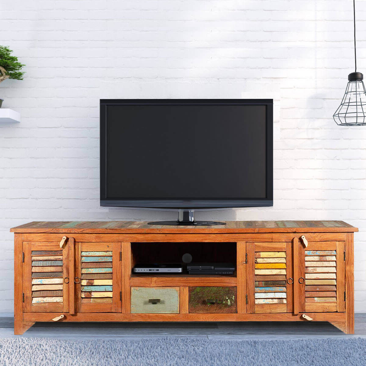 Popular Rounded Corners Mosaic Reclaimed Wood Rustic Tv Media Cabinet With Tv Stands Rounded Corners (View 15 of 20)