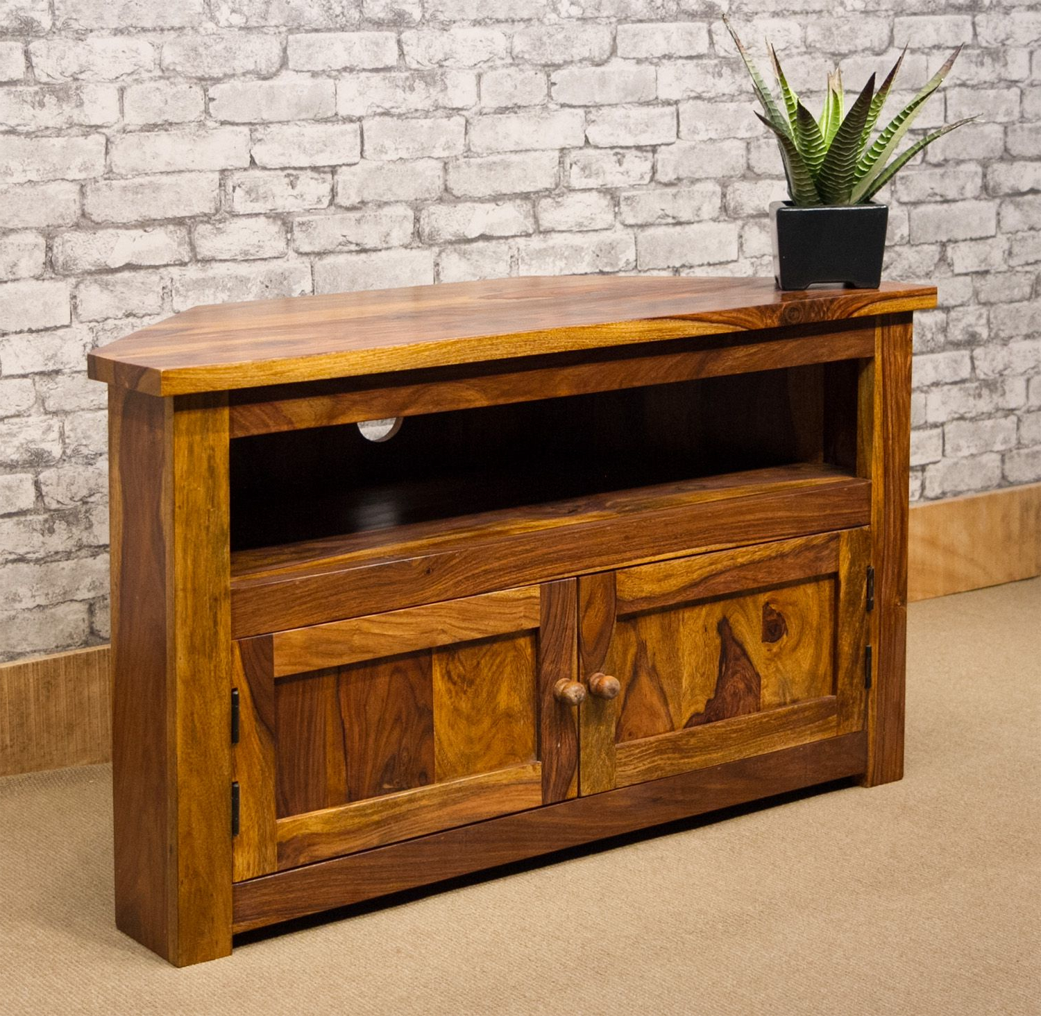 Popular Sheesham Wood Tv Stands With Regard To Ibf 013 100Cm Corner Tv Stand (View 9 of 20)
