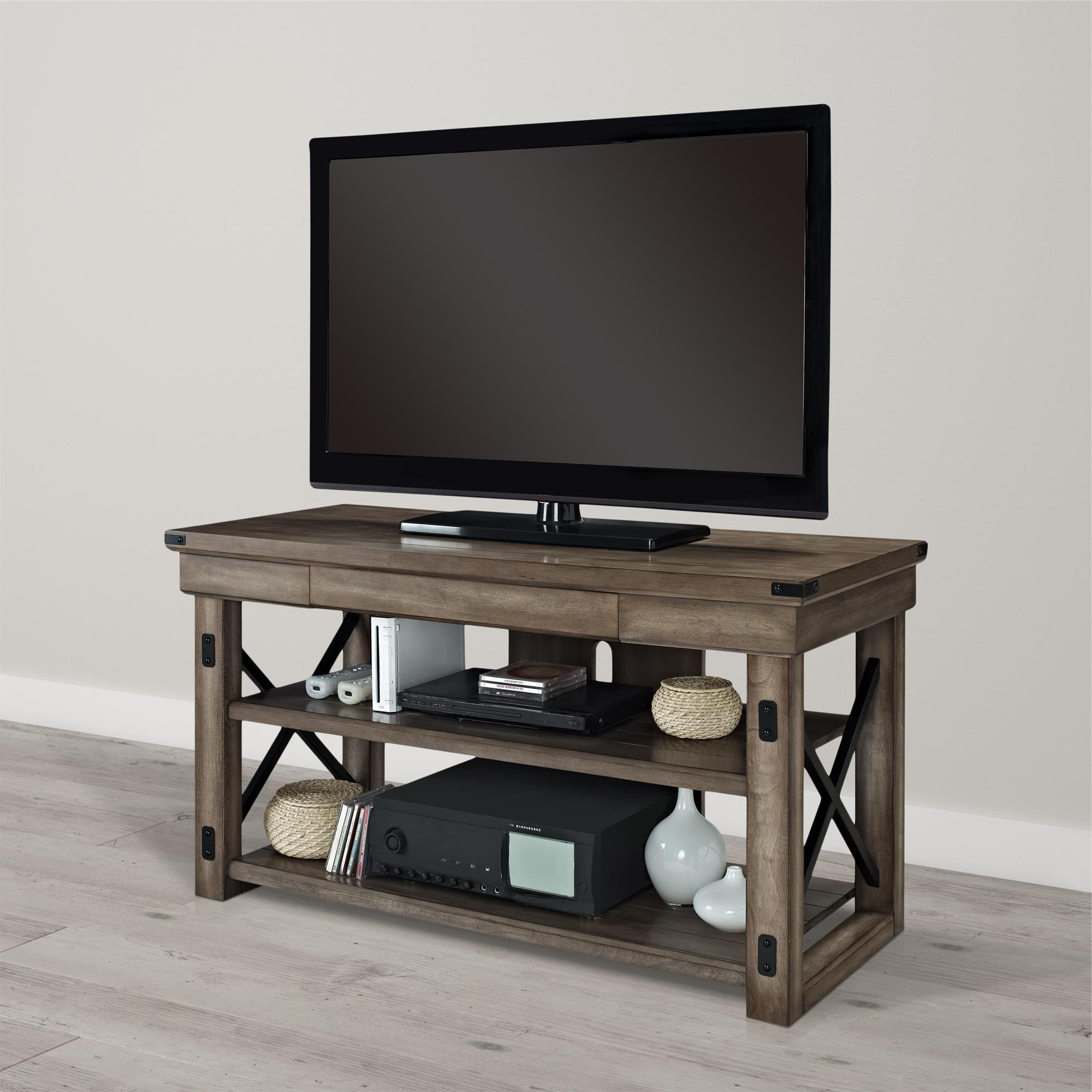 Popular Shop Avenue Greene Woodgate Wood Veneer Tv Stand For Up To 50 Inch Throughout Wooden Tv Stands For 50 Inch Tv (View 12 of 20)