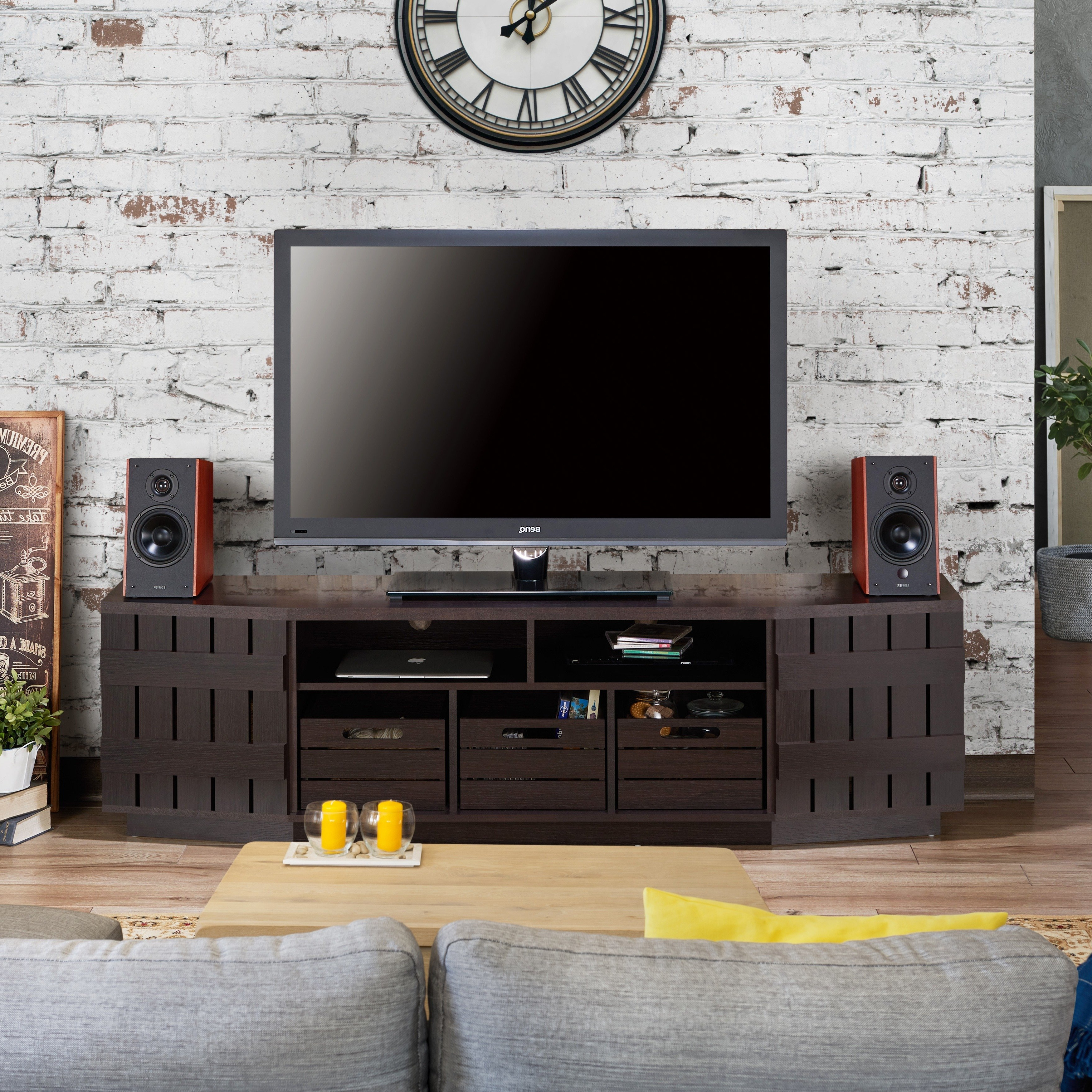 Popular Shop Furniture Of America Harla Rustic 70 Inch Tv Stand With In Casey Grey 54 Inch Tv Stands (View 14 of 20)