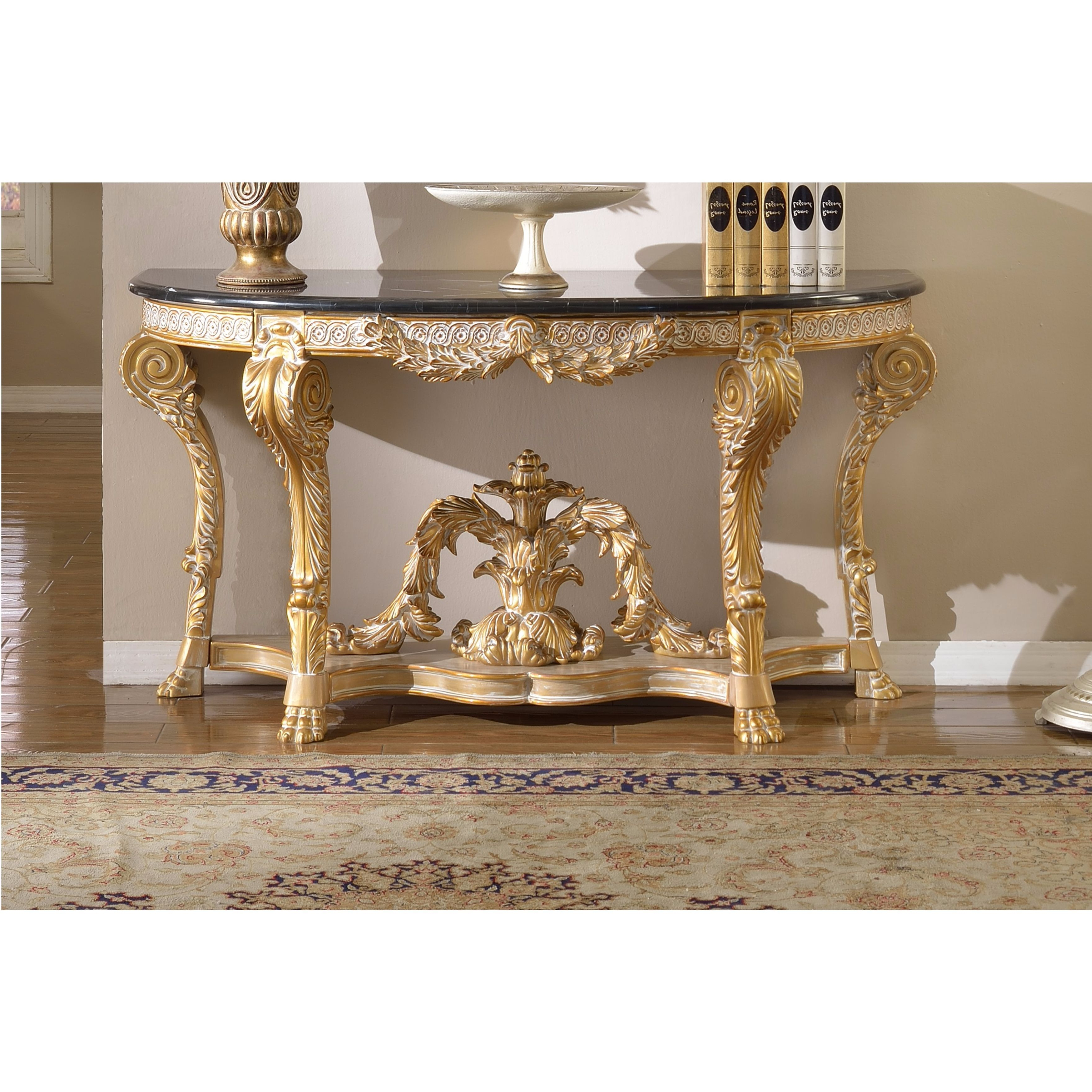 Popular Shop Meridian Furniture Versailles Marble Top Gold Finish Console Regarding Roman Metal Top Console Tables (View 7 of 20)