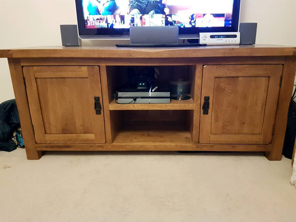 Popular Solid Oak Tv Stand, Cabinet, Unit. Oak Furnitureland Original Rustic Inside Rustic Oak Tv Stands (Gallery 14 of 20)