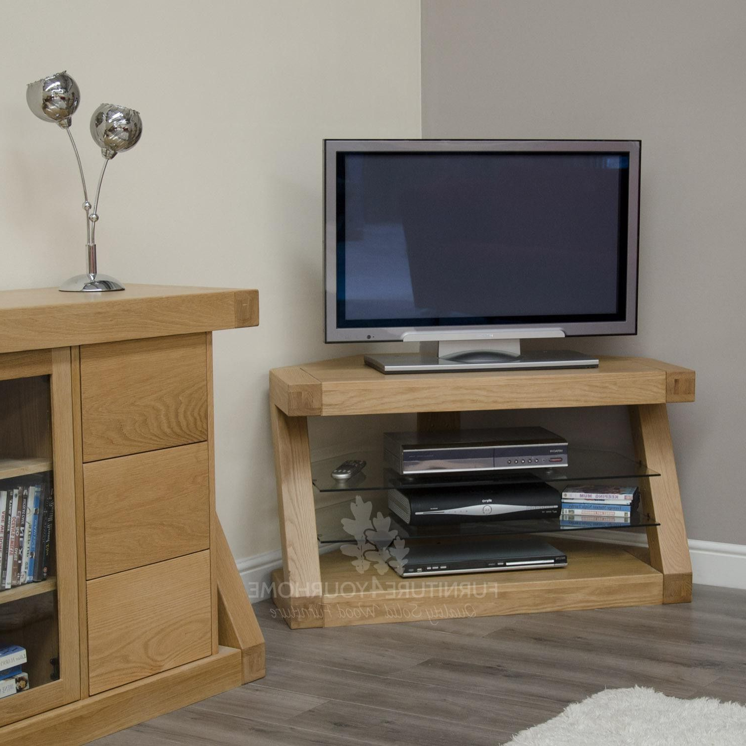 Popular Tv Stands Corner Units Throughout Z Solid Oak Designer Corner Tv Unit (Gallery 4 of 20)