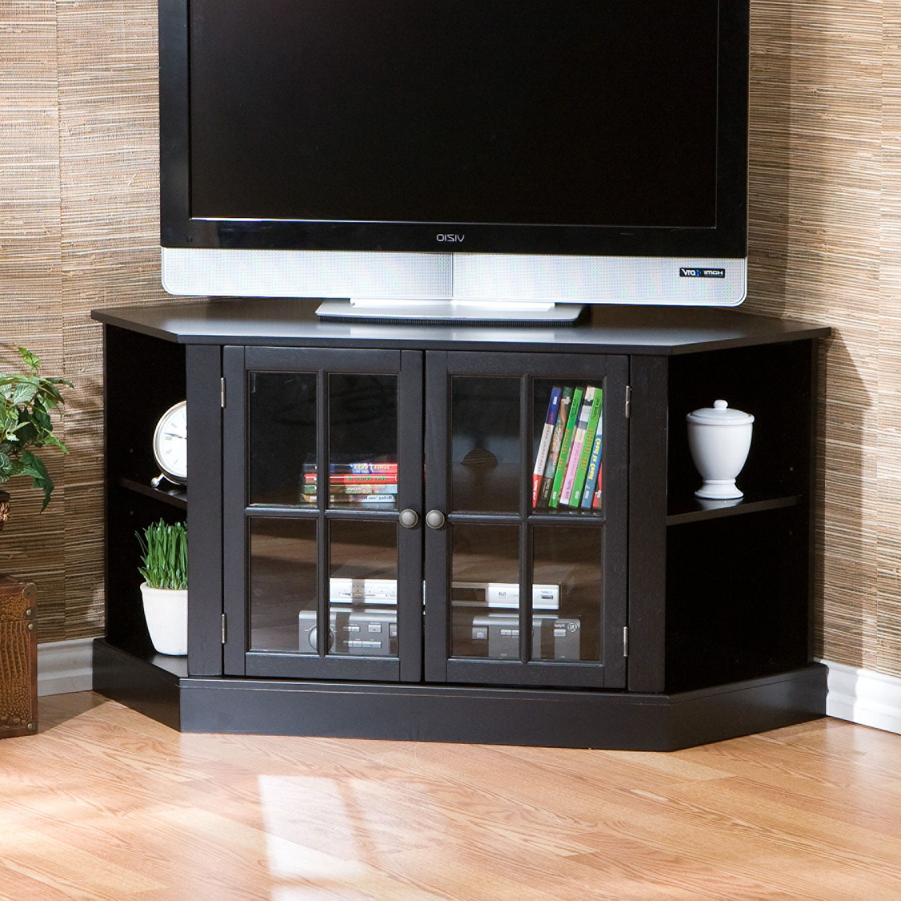 Popular Tv Stands For Corner Intended For Alice Black Corner Tv Stand Media Center Window Pane Glass Doors (View 15 of 20)