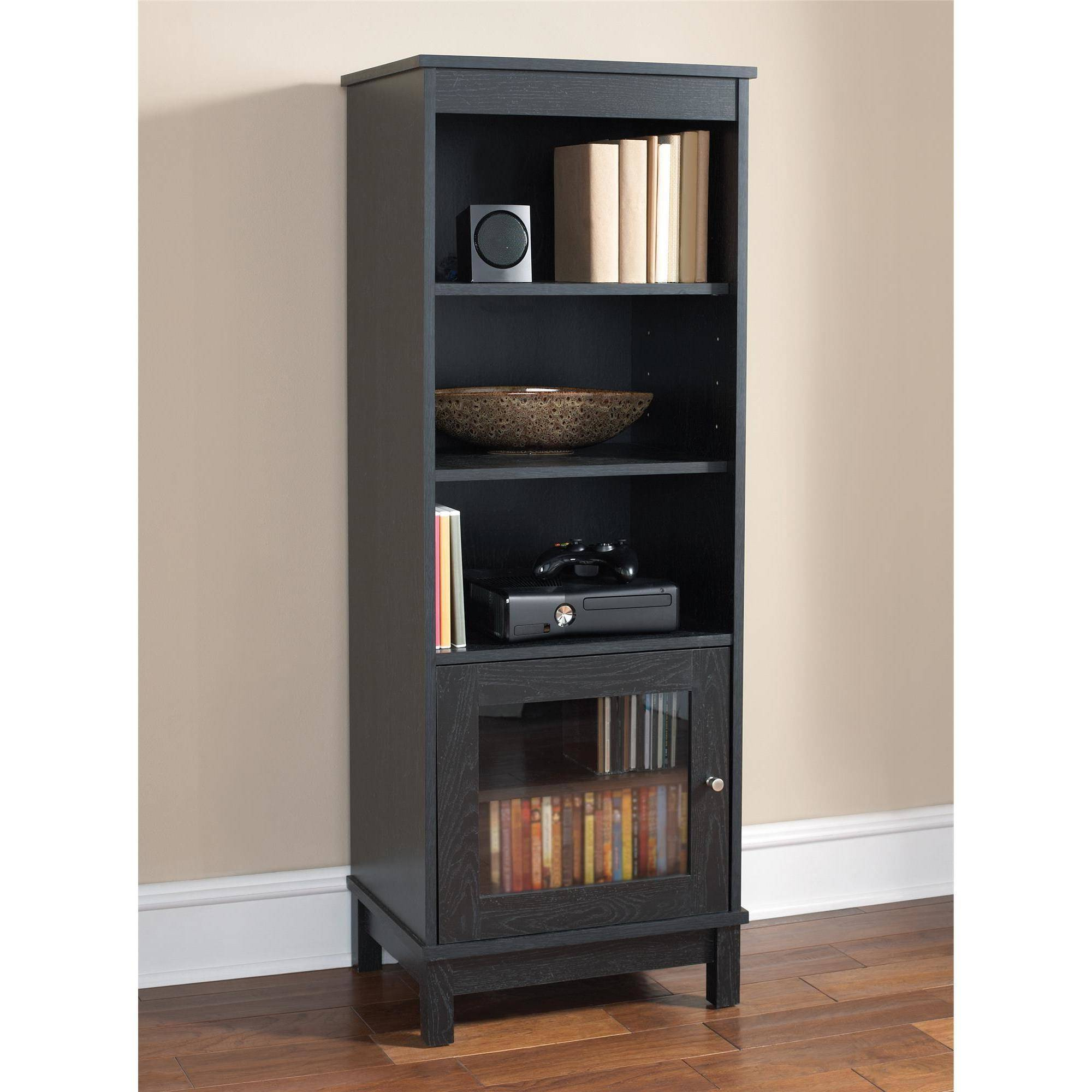 Popular Tv Stands With Bookcases Regarding Mainstays Media Storage Bookcase, Multiple Finishes – Walmart (Gallery 10 of 20)