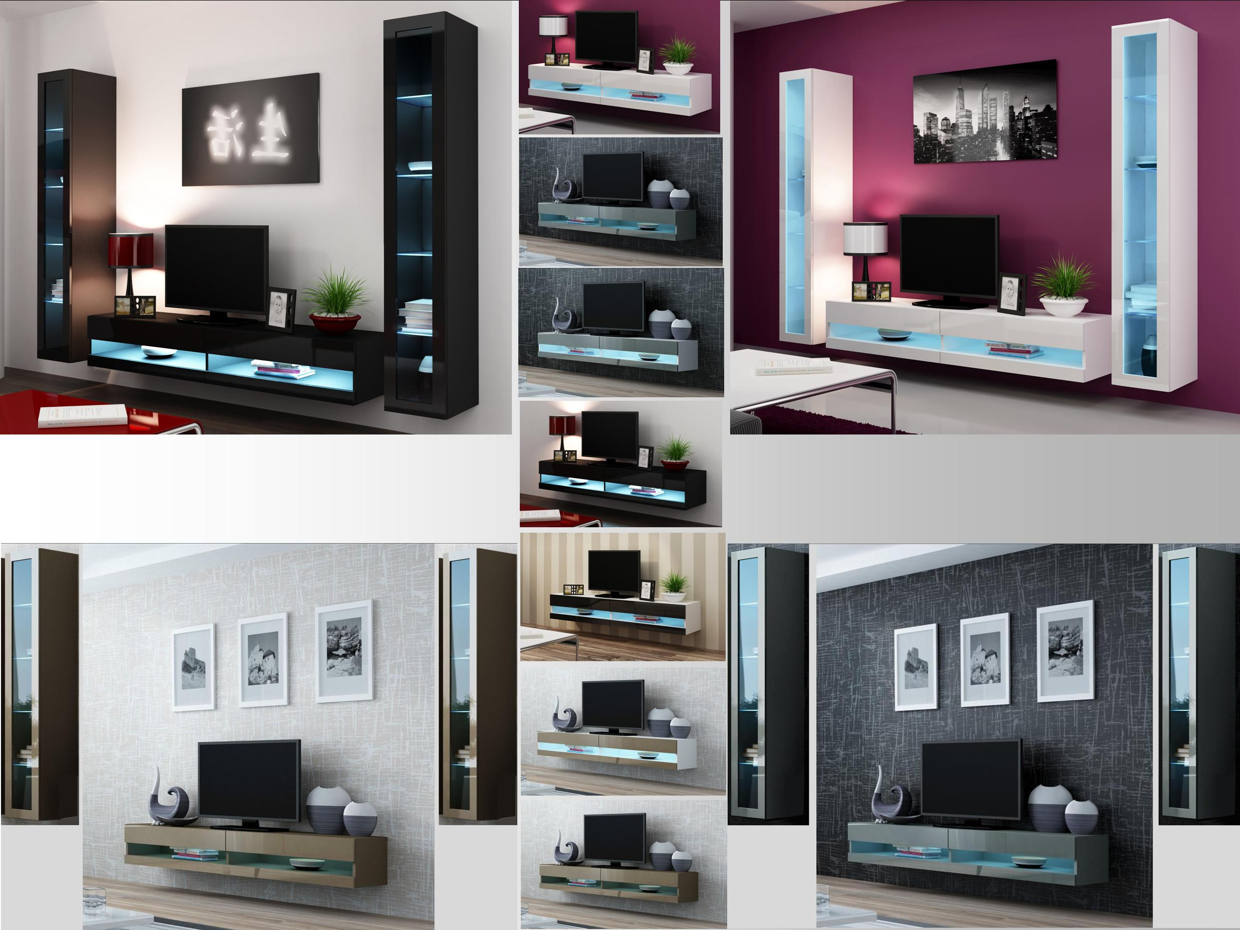 Popular Tv Stands With Led Lights Pertaining To High Gloss Living Room Set With Led Lights, Tv Stand, Wall Mounted (Gallery 10 of 20)