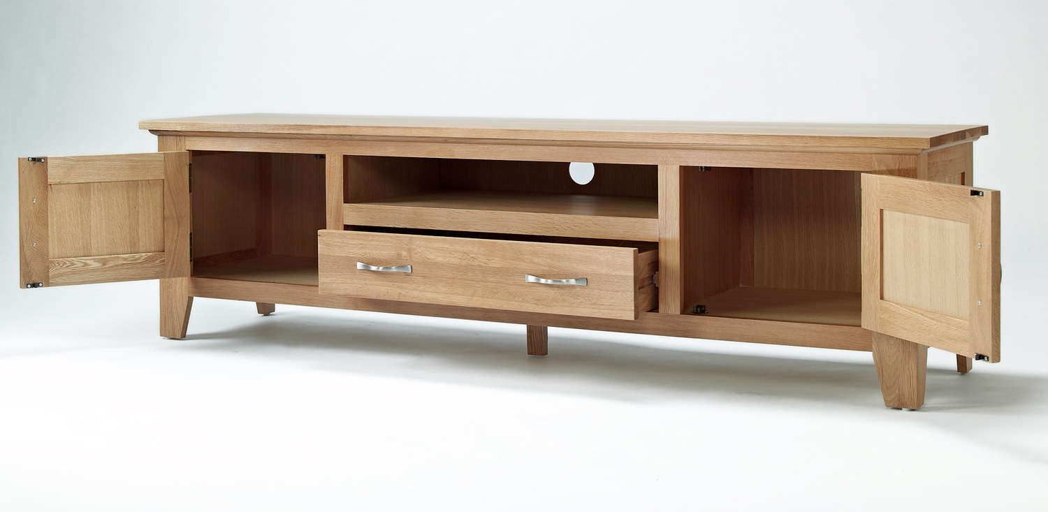 Popular Wide Tv Cabinets Within Sherwood Oak Large Tv Unit (Gallery 13 of 20)