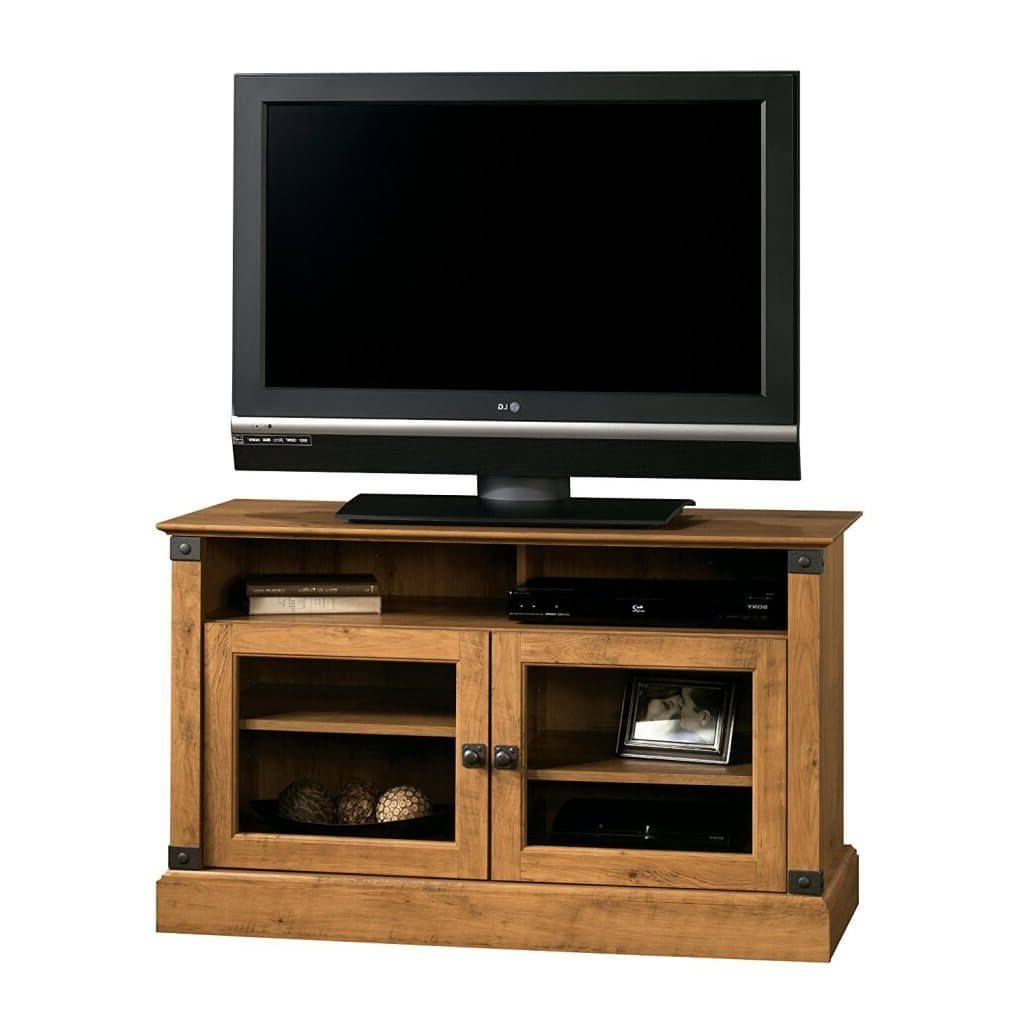 Popular Wooden Tv Cabinets With Glass Doors Inside Furniture: Small Wooden Tv Stand Featuring Double Glass Door With (Gallery 8 of 20)
