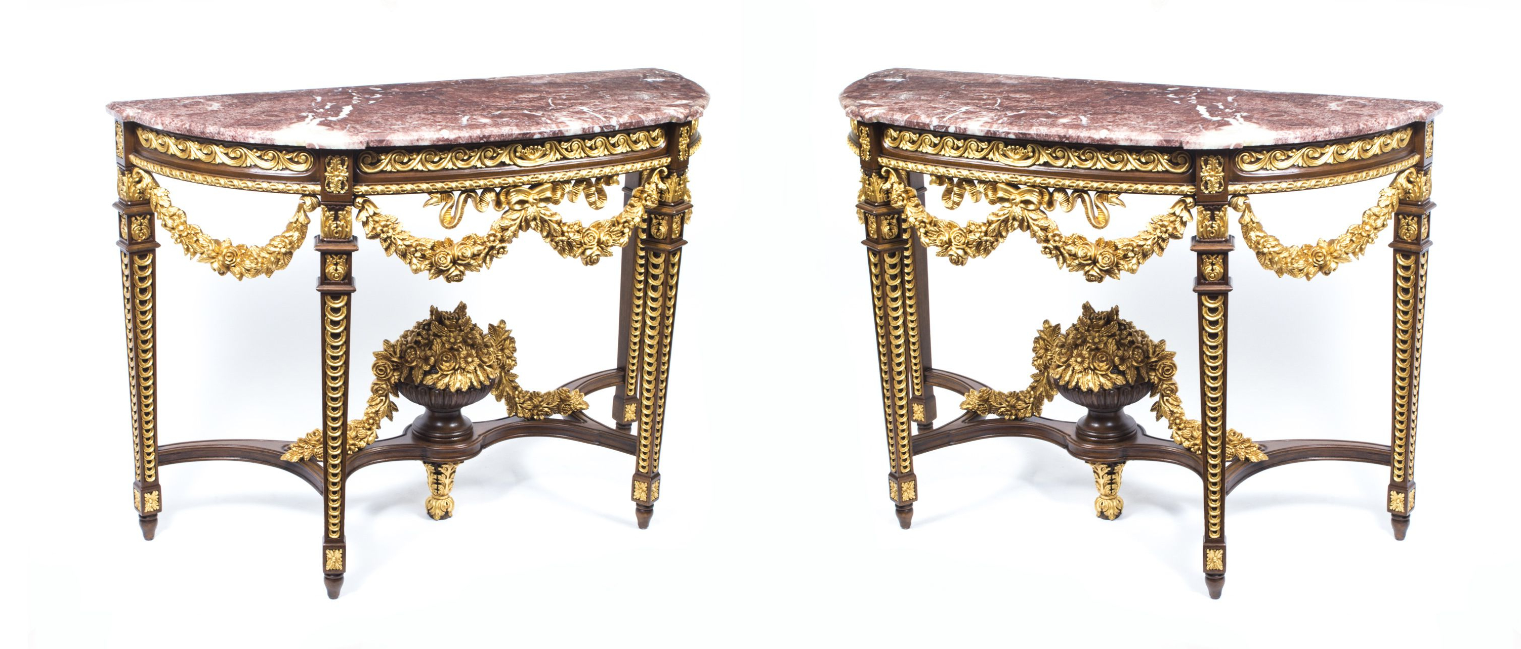 Preferred A Fantastic Pair Of Half Moon Console Tables In The Opulent Rococo Regarding Roman Metal Top Console Tables (Gallery 19 of 20)
