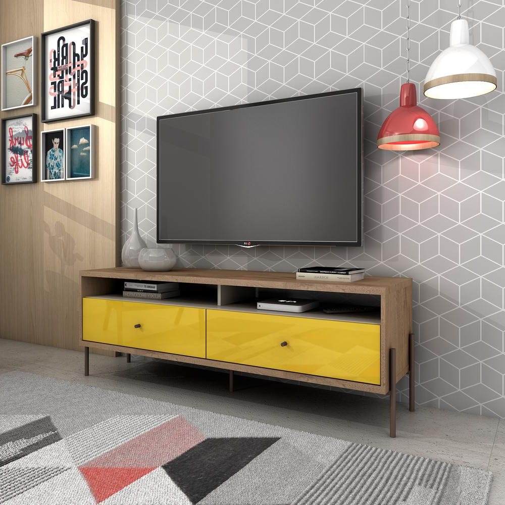 "Preferred Bisonoffice: Joy 59"" Tv Stand With 2 Full Extension Drawers In In Yellow Tv Stands (View 12 of 20)"