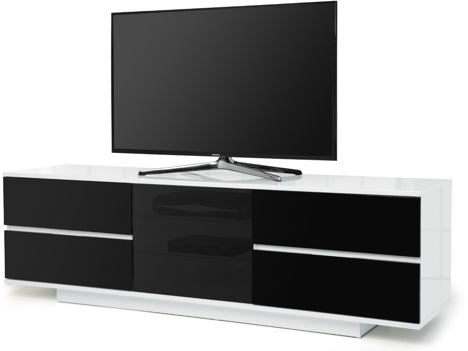 Preferred Centurion Supports Avitus Ultra White With Black Drawers Beam Thru With Regard To Beam Thru Tv Cabinets (View 15 of 20)