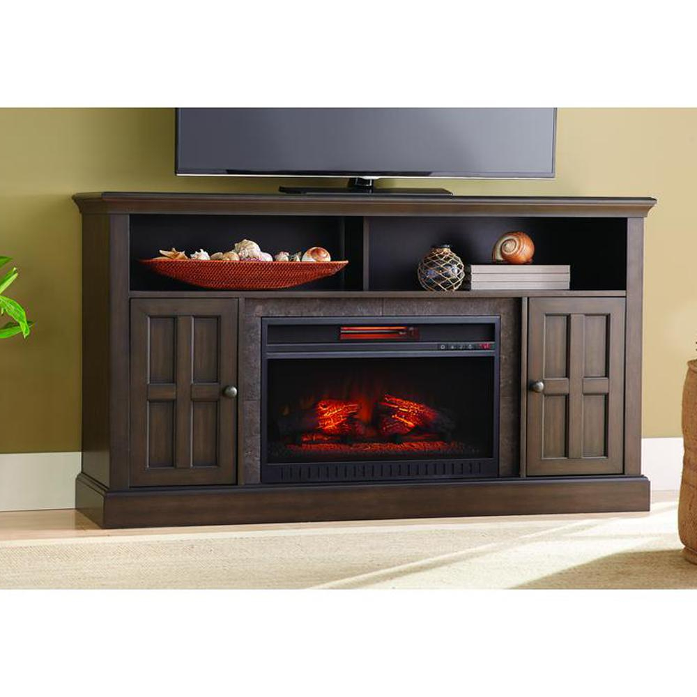 Preferred Classic Flame Cottonwood 47.50 In. Media Console Electric Fireplace Pertaining To Kilian Black 60 Inch Tv Stands (Gallery 7 of 20)