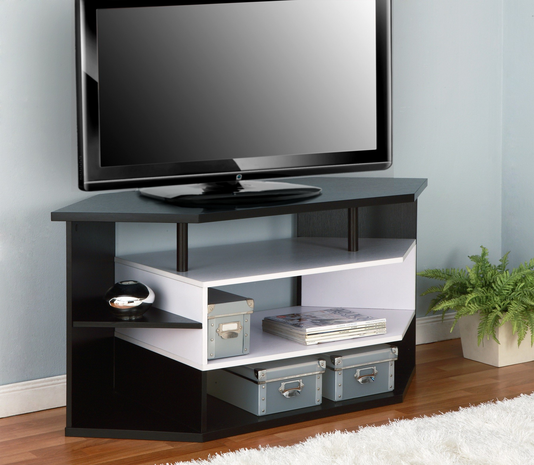 Preferred Contemporary Corner Tv Stands Throughout Furniture Of America Rixton Black And White 47 Inch Contemporary (View 10 of 20)