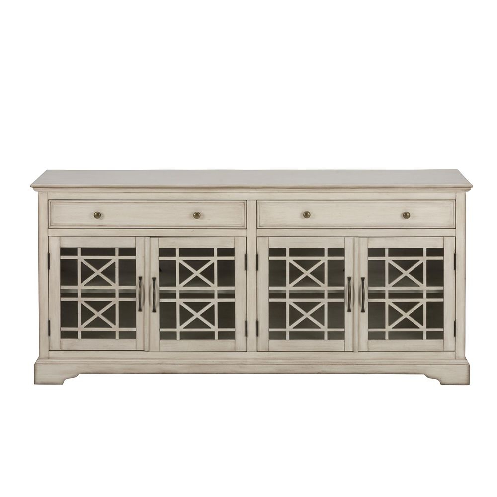 "Preferred Craftsman Antique 70"" Tv Stand Media Unit W/ Distressed Cream Finish In Annabelle Cream 70 Inch Tv Stands (View 18 of 20)"