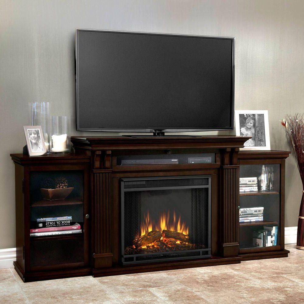 Preferred Dark Walnut Tv Stands With Real Flame Calie Entertainment 67 In. Media Console Electric (Gallery 18 of 20)