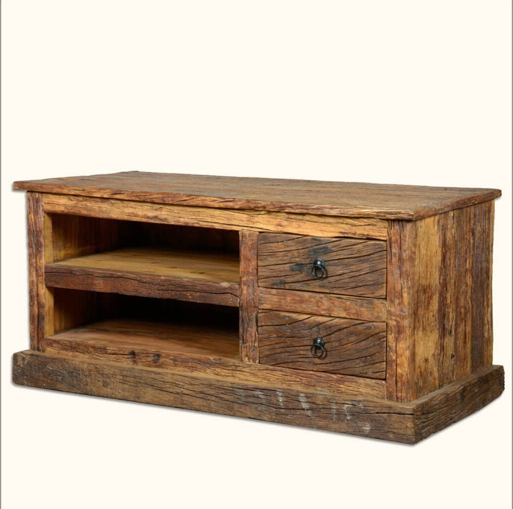 Preferred Double Tv Stands Regarding Furniture: Chunky Rustic Wood Tv Stand Featuring Vintage Pulls (Gallery 6 of 20)