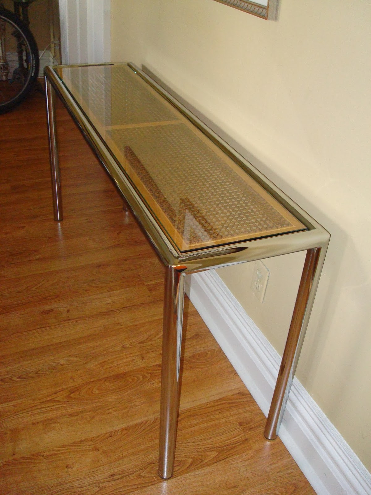 Preferred Era Antiques: 1970´s Milo Baughman Tubular Chrome Sofa/console Table Regarding Era Glass Console Tables (Gallery 13 of 20)