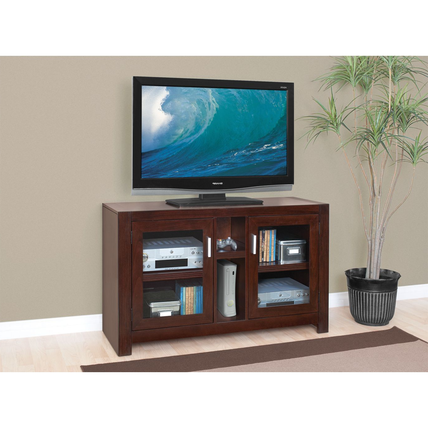 Preferred Glass Front Tv Stands Within Martin Camus 2 Shelf Mid Sized Tv Stand With Glass Front Doors (View 10 of 20)